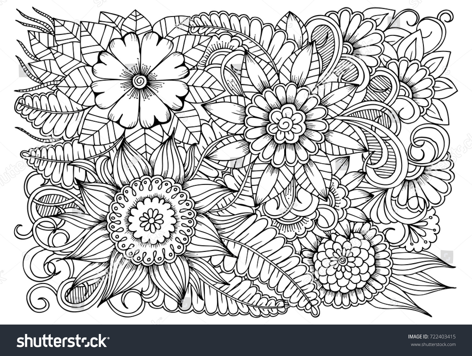 Black White Flower Pattern Adult Coloring Stock Vector ...