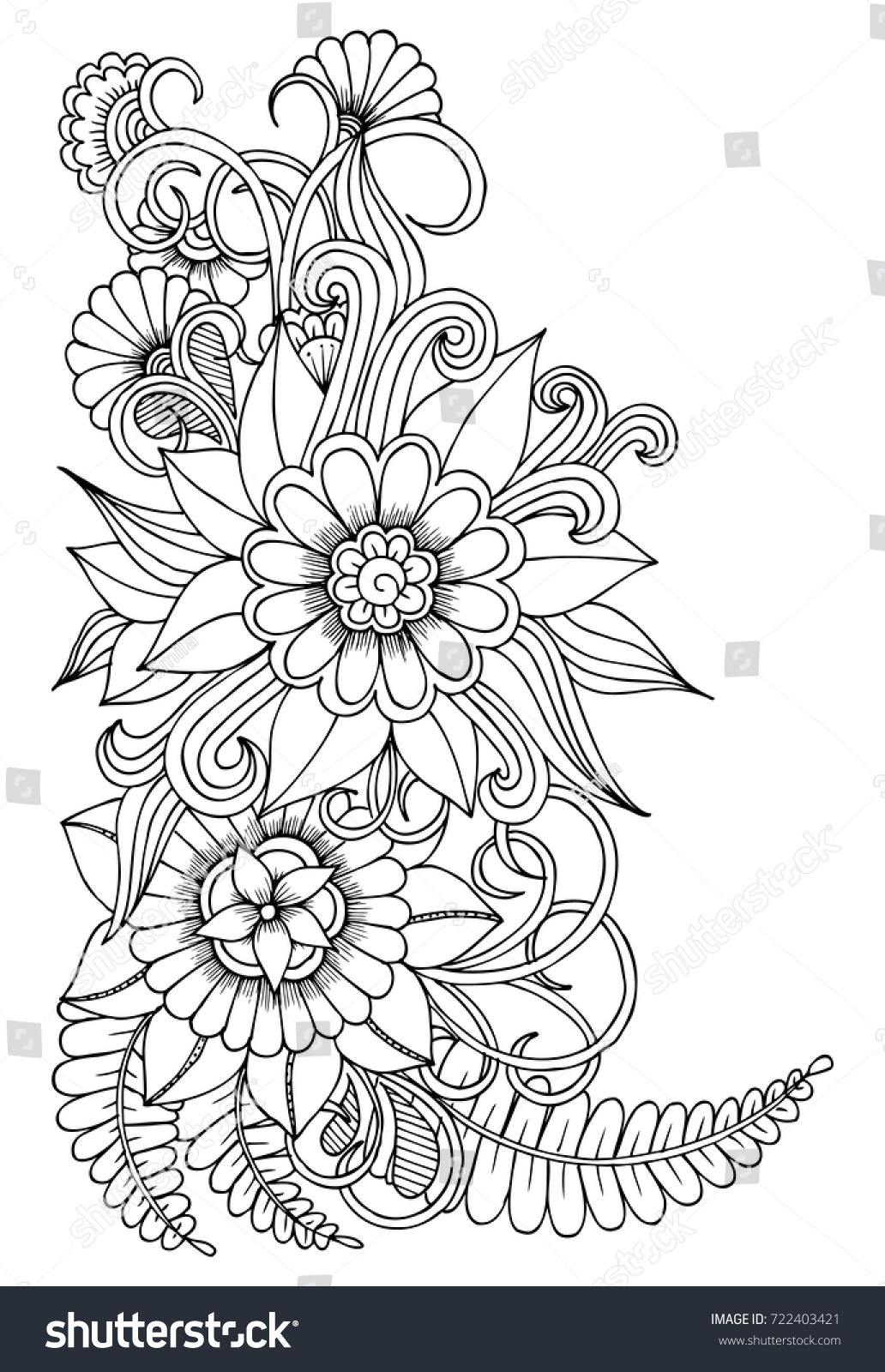 Black White Flower Pattern Adult Coloring Stock Vector 722403421 ...