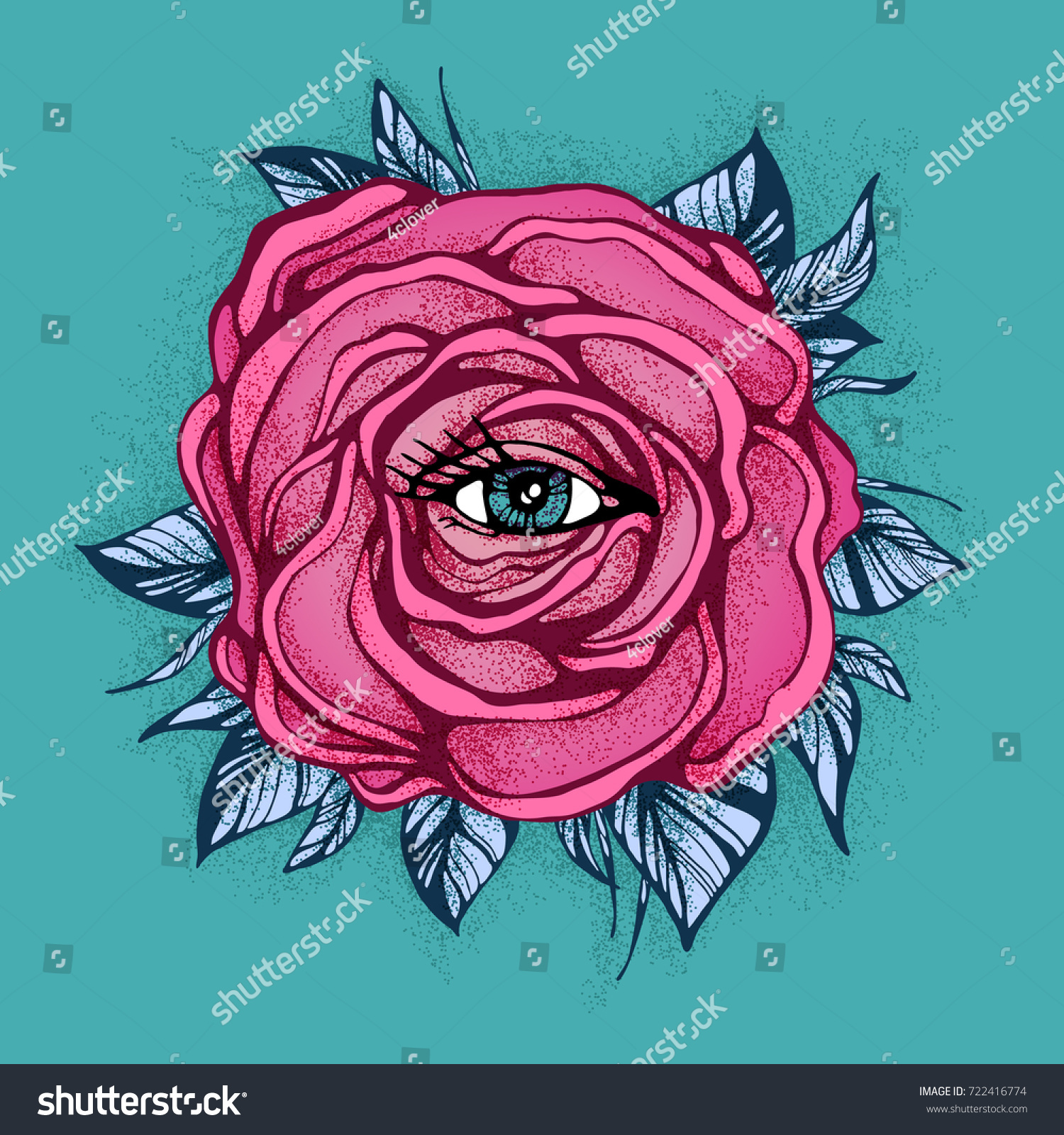Pink Tattoo Rose Flower Eye On Stock Vector Royalty Free 722416774