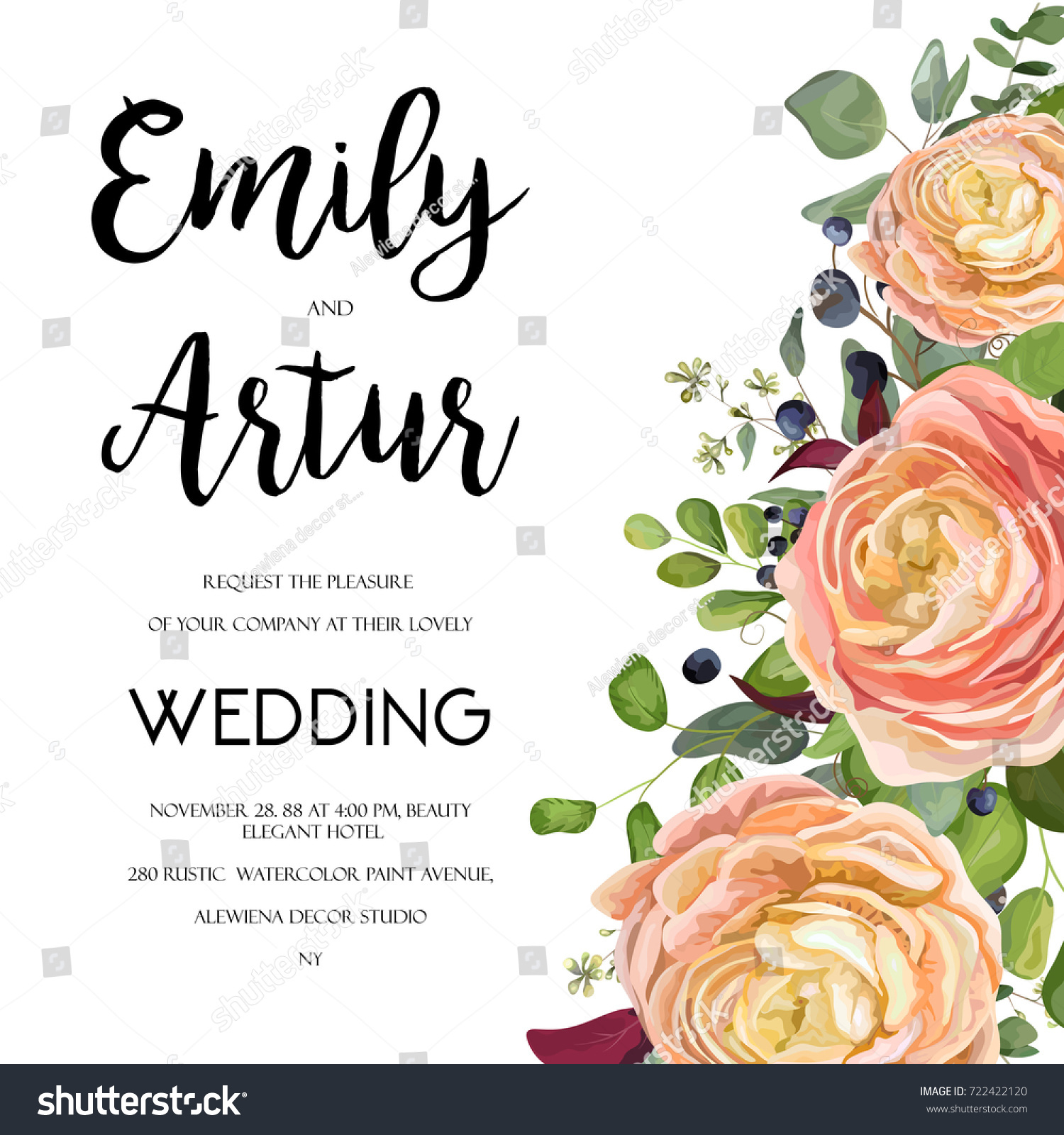 Wedding invitation invite card design watercolor stock vector wedding invitation invite card design with watercolor hand drawn pink peach rose ranunculus flower stopboris Images