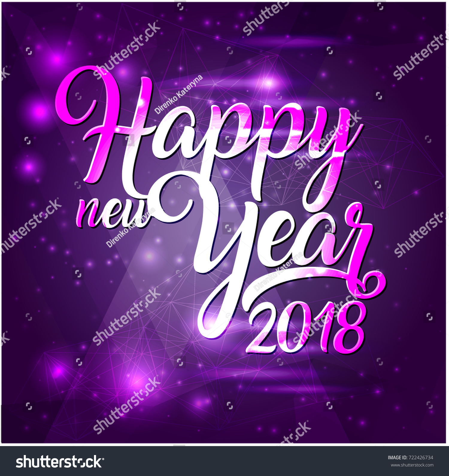 happy new year 2018 lettering on purple futuristic background with sparkles greeting card design template