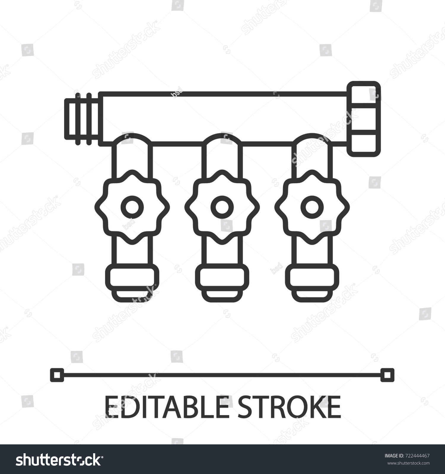 Manifold Tap Linear Icon Thin Line Stock Vector Royalty Free