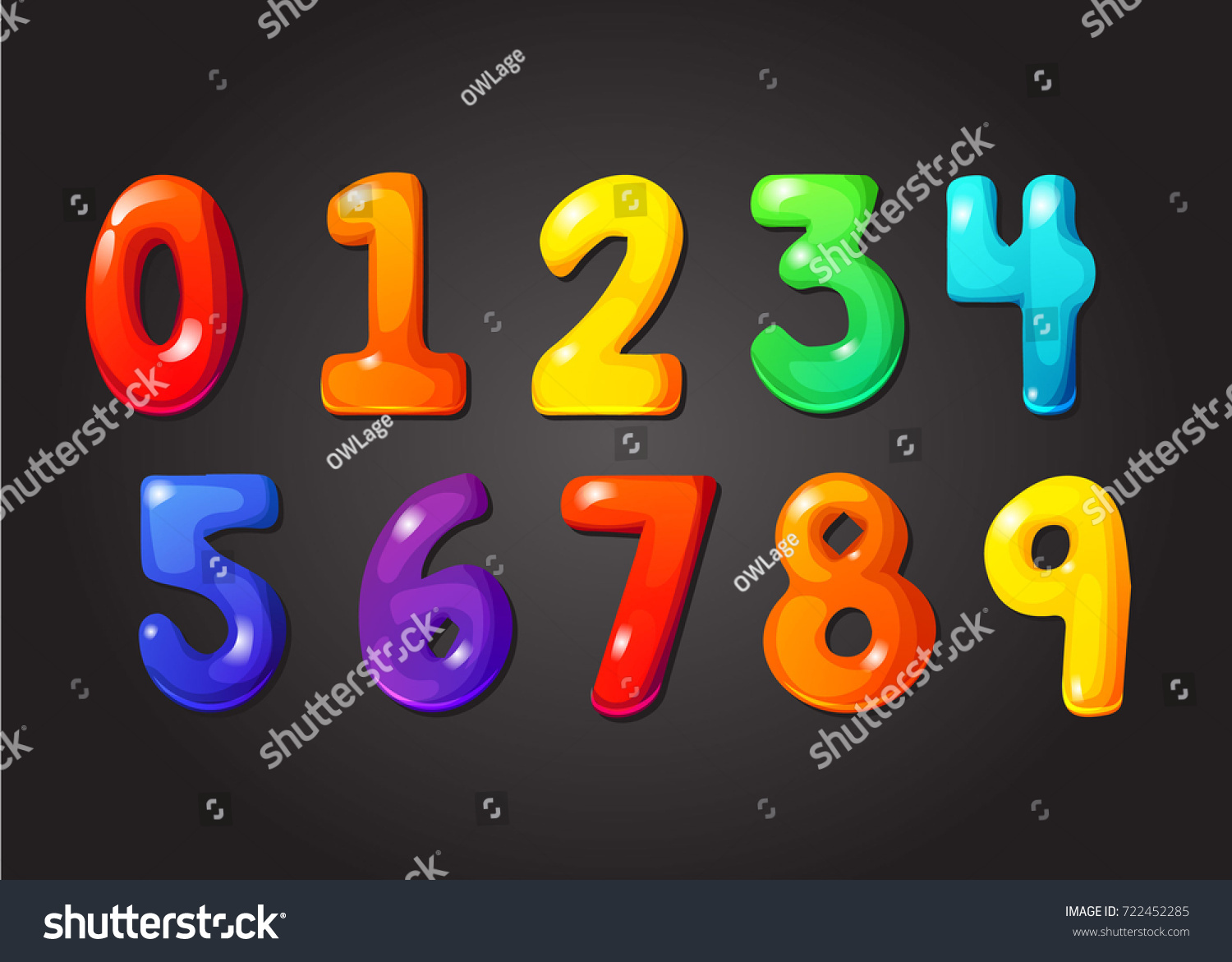 Rainbow Font 123 Jelly Numeral Alphabet Candy Color Kid Numbers Character