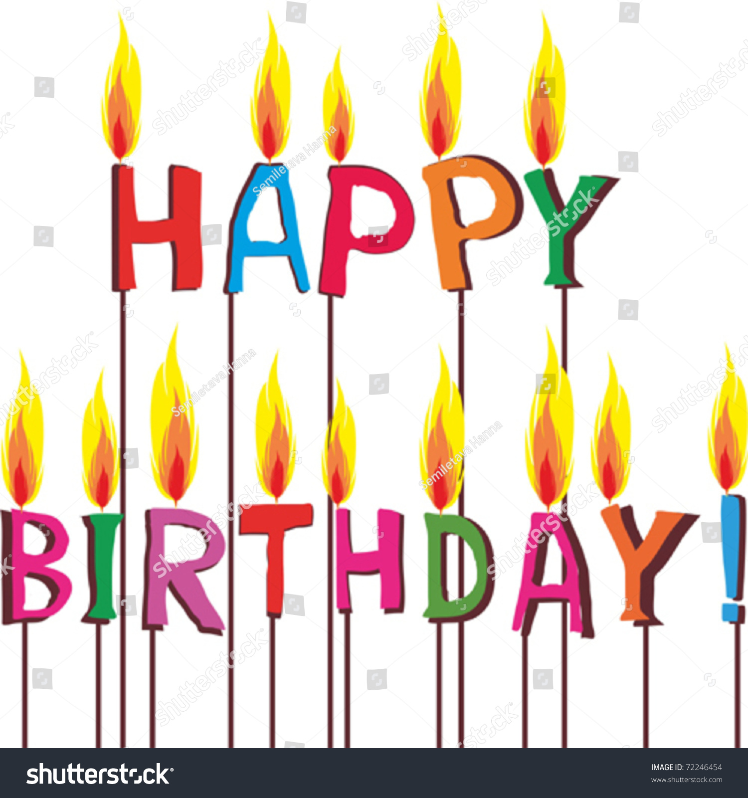 Happy Birthday Candles Stock Vektorgrafik Lizenzfrei 72246454