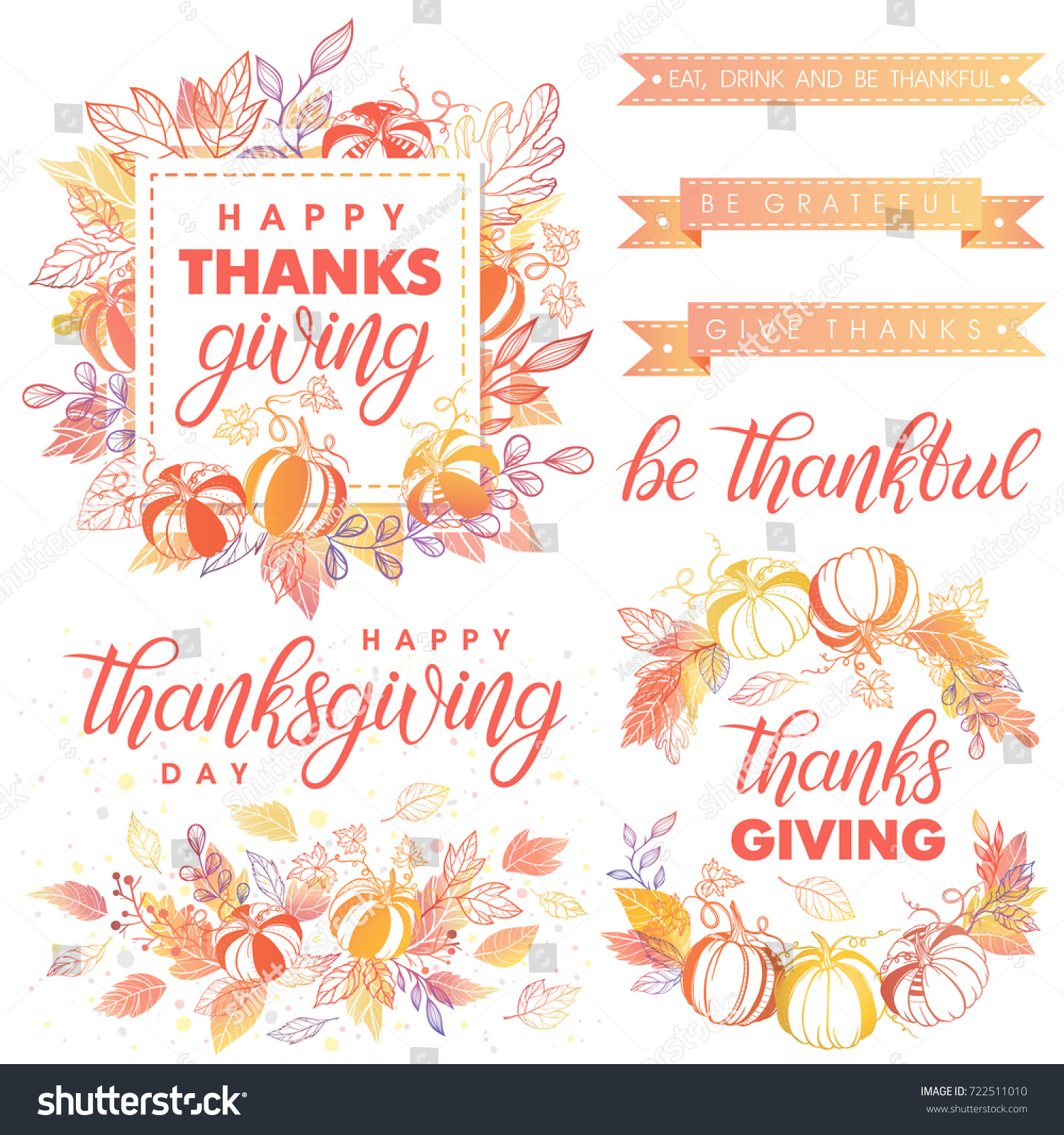 Thanksgiving Day Typography Collection Thanksgiving Day Greetings