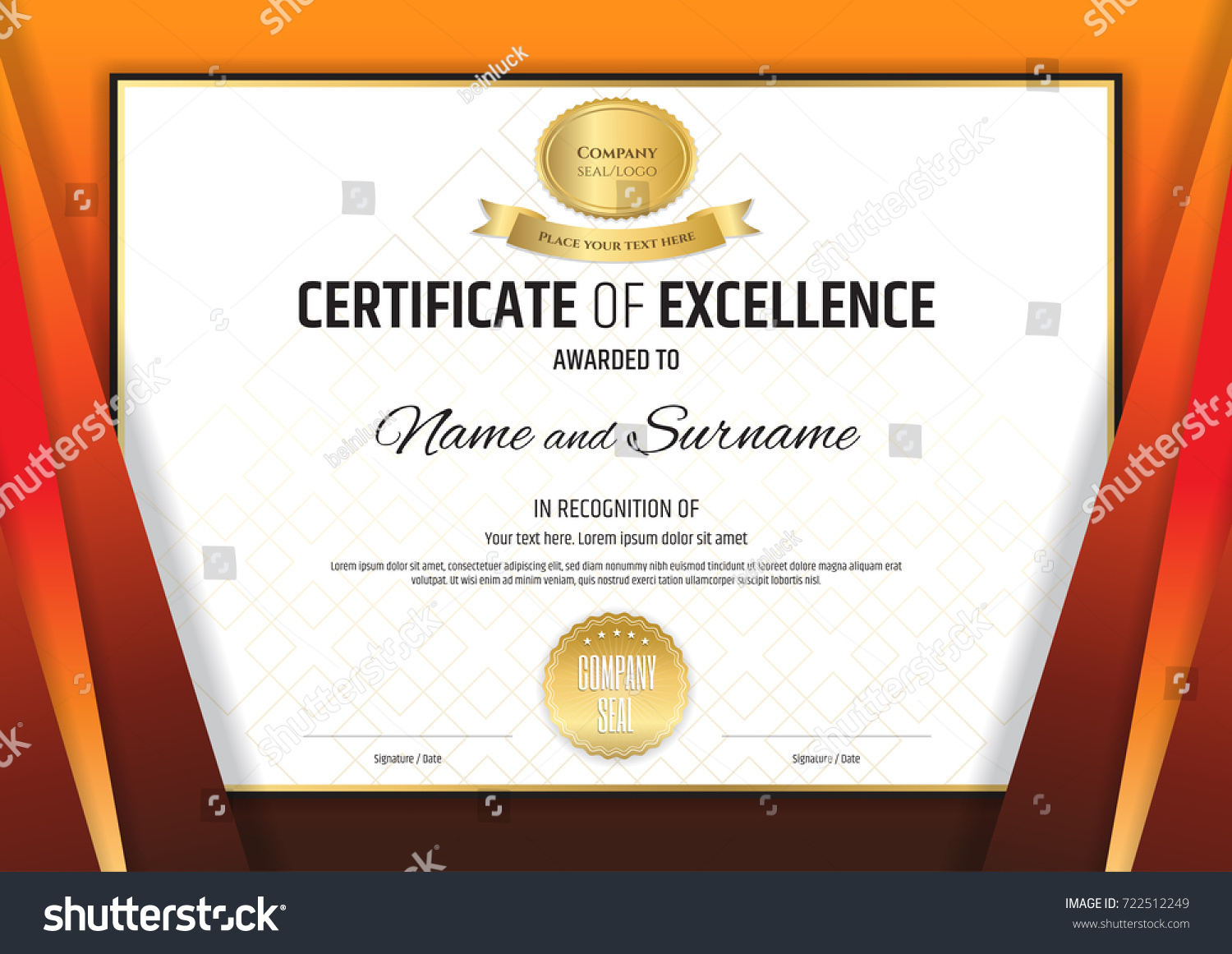 Luxury certificate template elegant border frame stock vector luxury certificate template with elegant border frame diploma design for graduation or completion xflitez Image collections