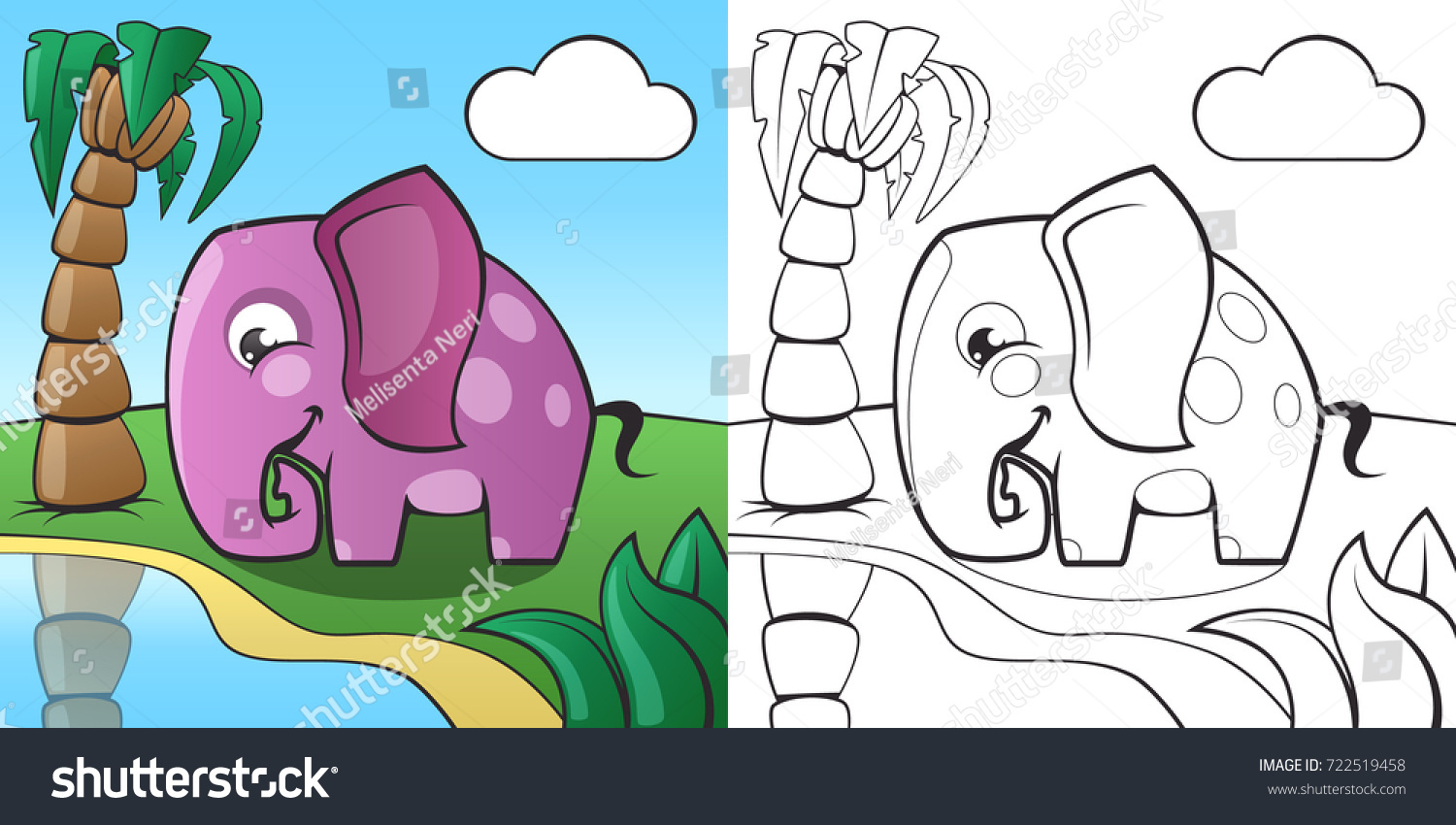 Childrens Coloring Book Cute Cartoon Elephant Stock Vector Royalty