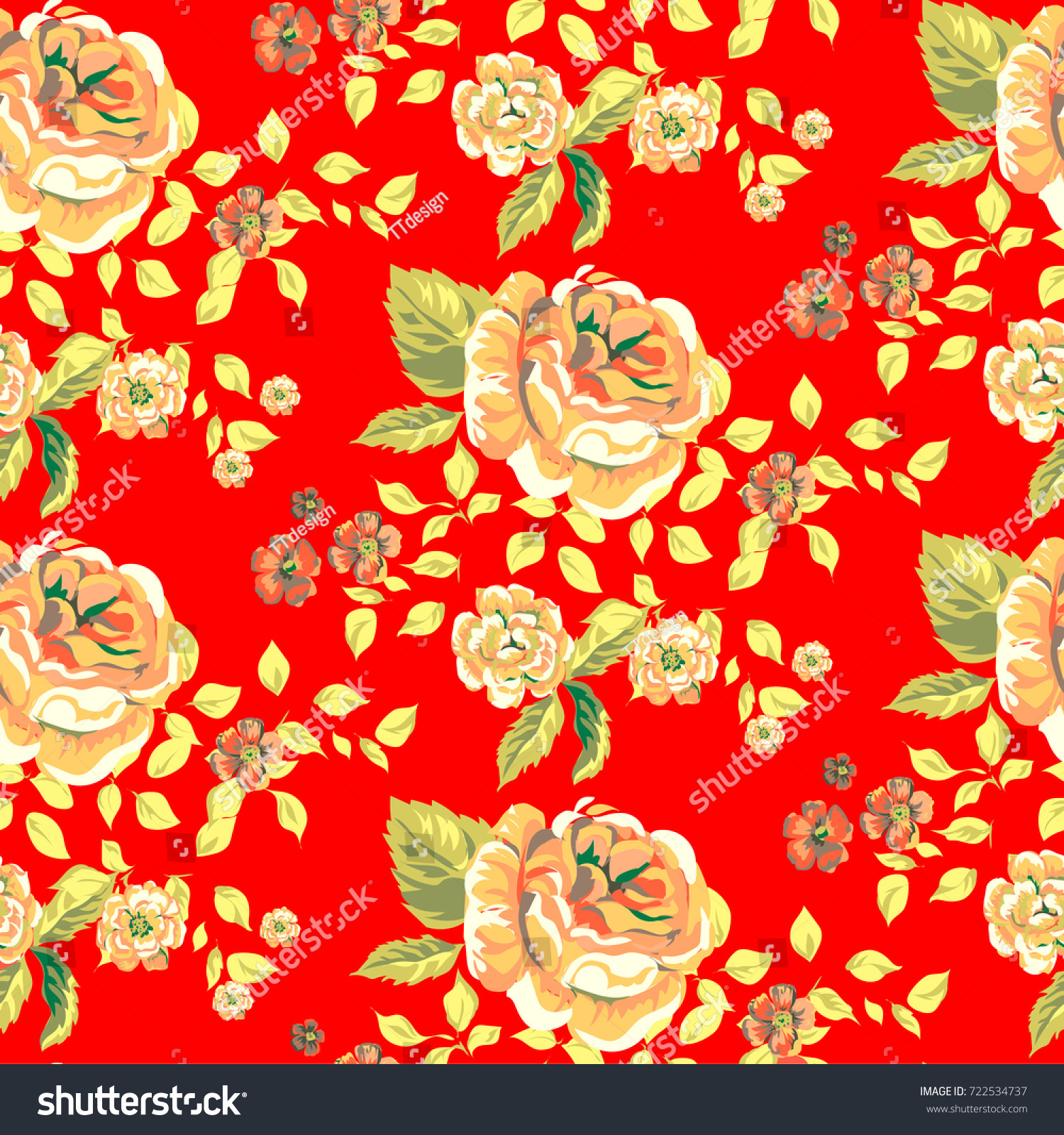 Traditional Retro Roses Flower Summer Seamless Stock Vector Royalty