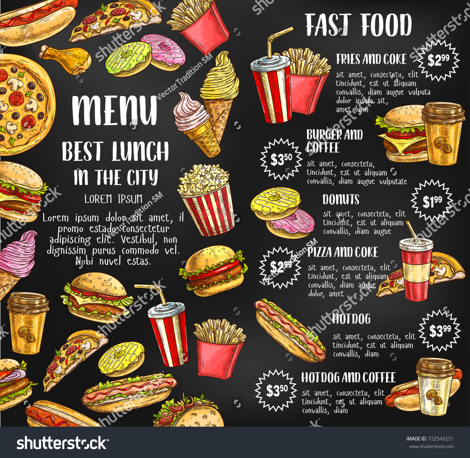 Fast Food Sketch Price Menu Template Stock Vector Royalty Free