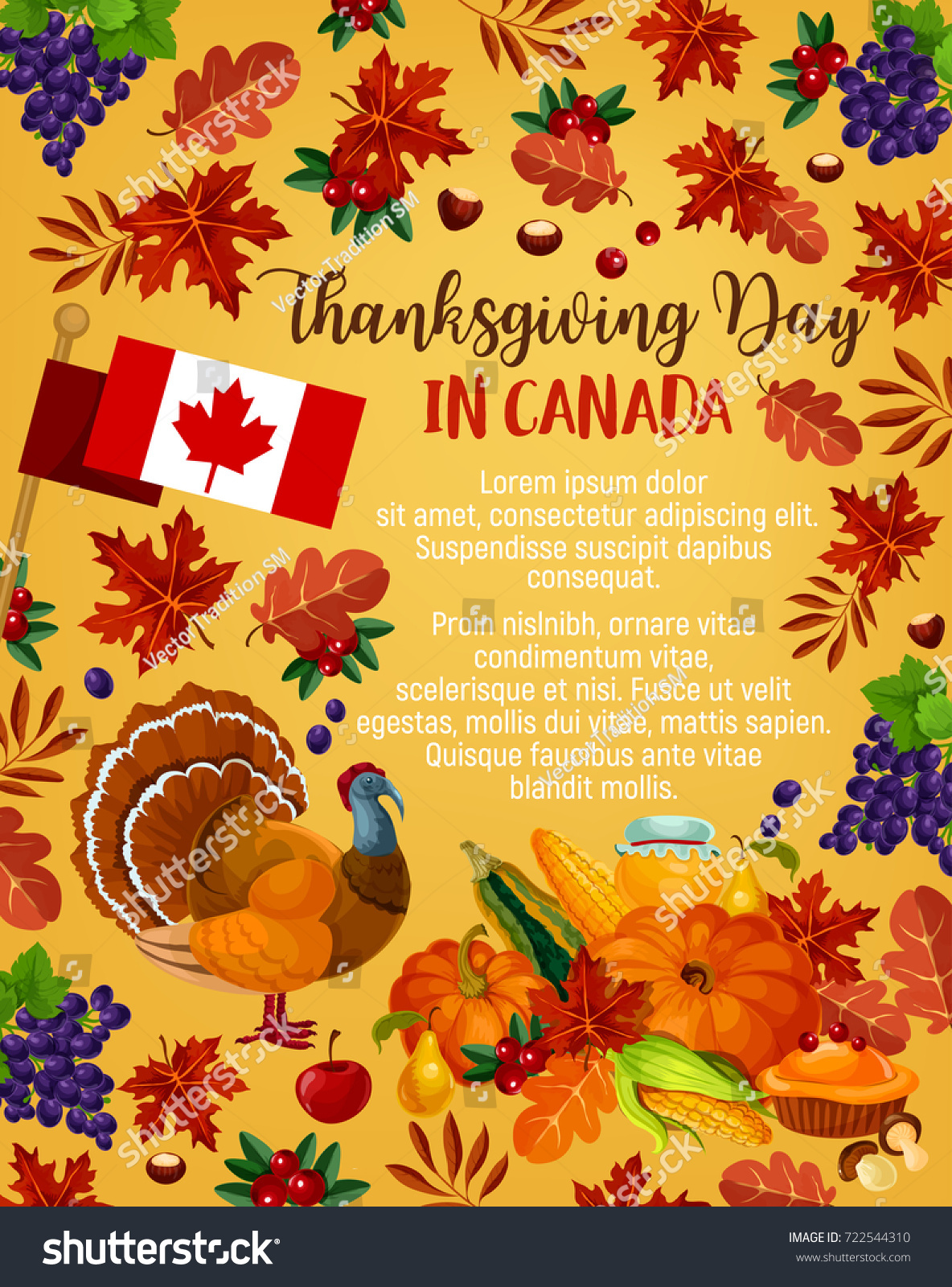 Thanksgiving Day Canada Greeting Poster Vector Stock Vector