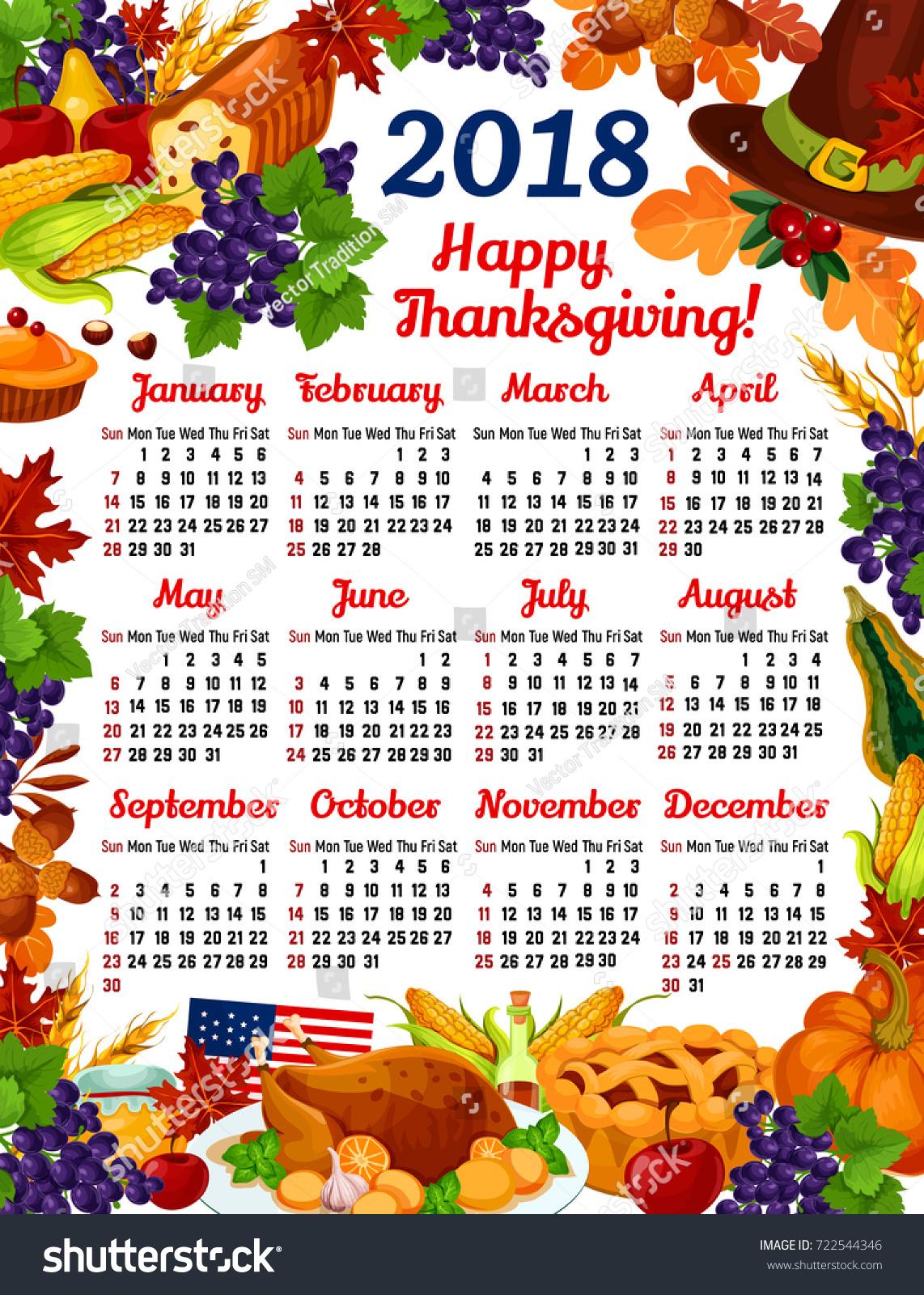 Turkey Day Hercules Style: Thanksgiving Day 2018 Calendar Template Design Stock