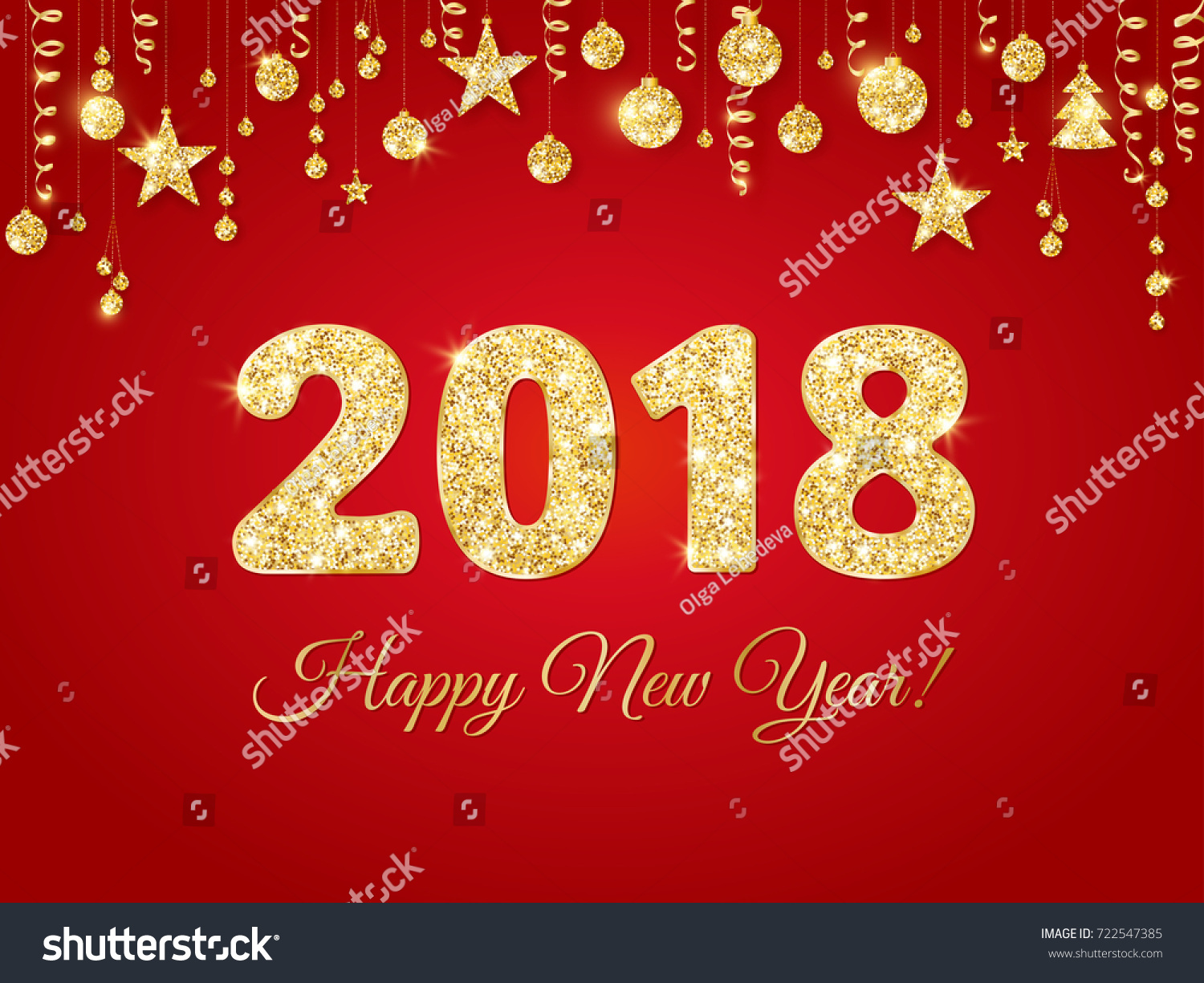 2018 happy new year text with party poppers flags on golden yellow background colorful celebration banner poster wallpaper concept design