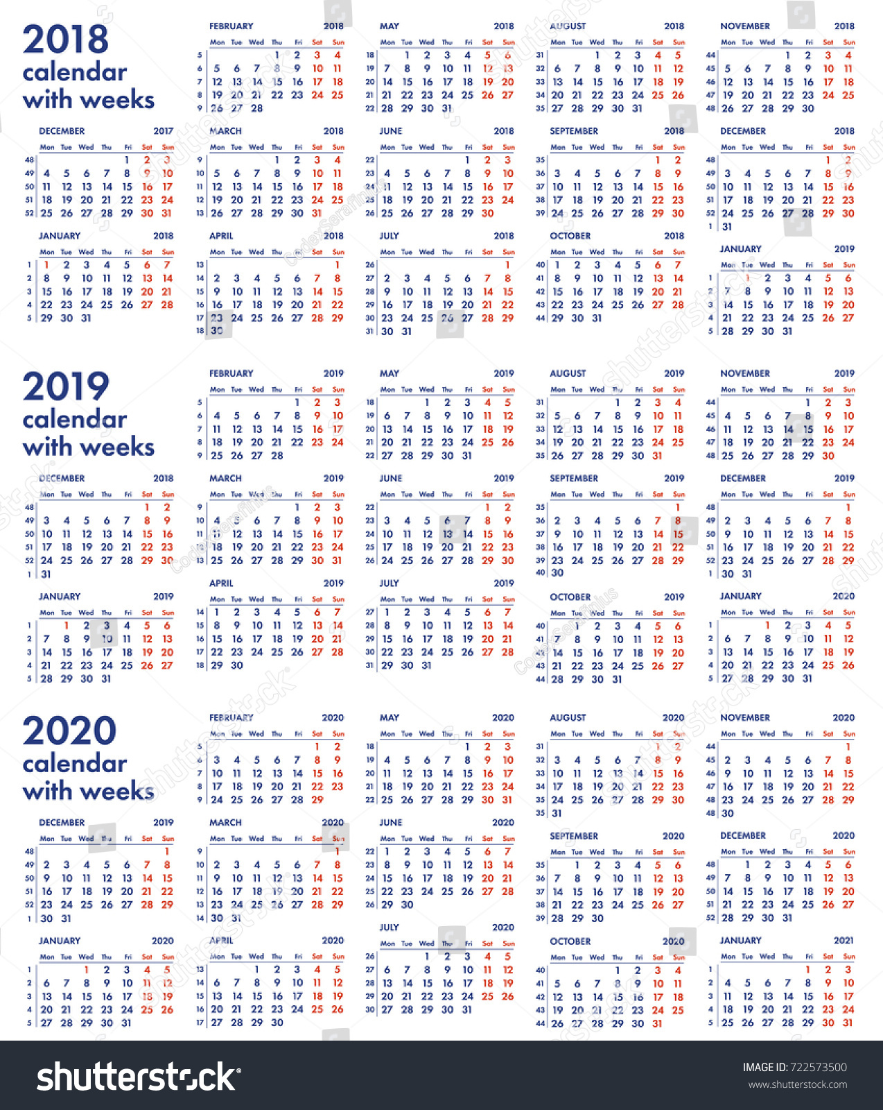 2018 2019 2020 calendar grid with weeks numbers vector illustration isolated on white background for