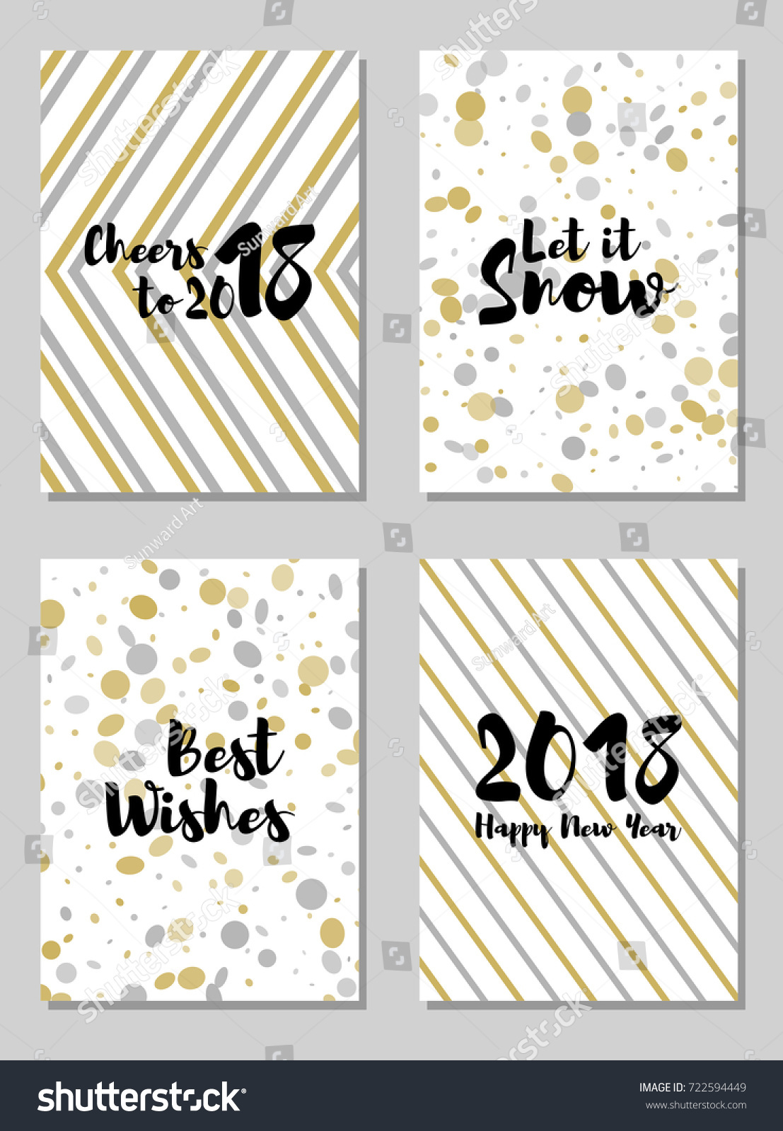 cheers to 2018 new year best wishes greeting cards vector collection holiday postcards set