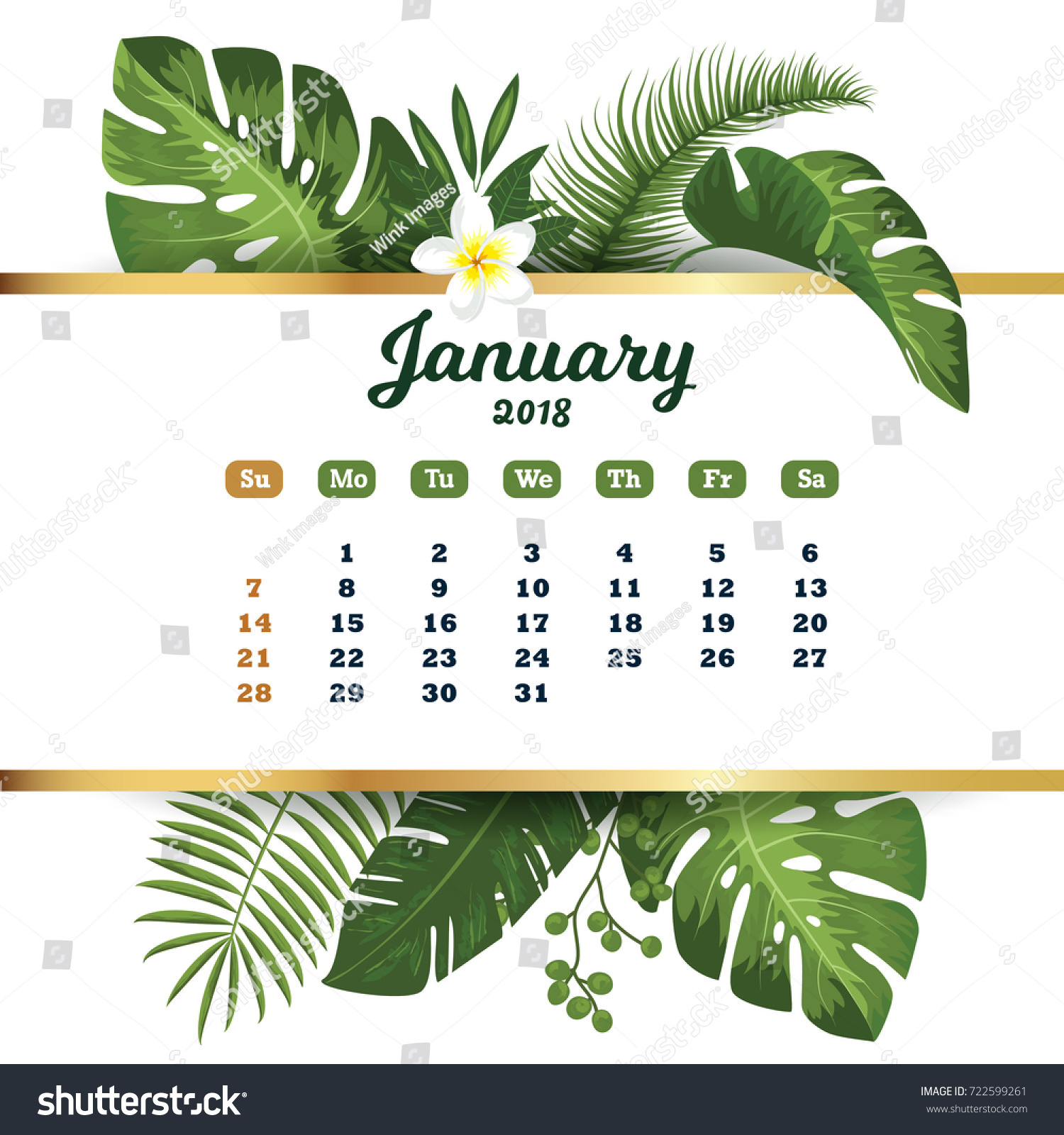 January 2018 Tropical Printable Calendar 2018 Stock Vector ...