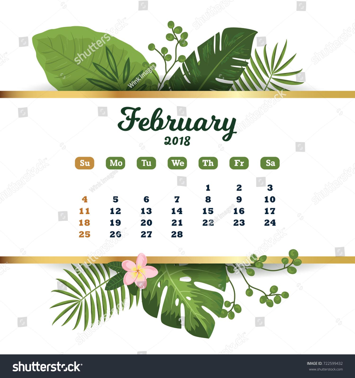 February 2018 Tropical Printable Calendar 2018 Stock Vector ...