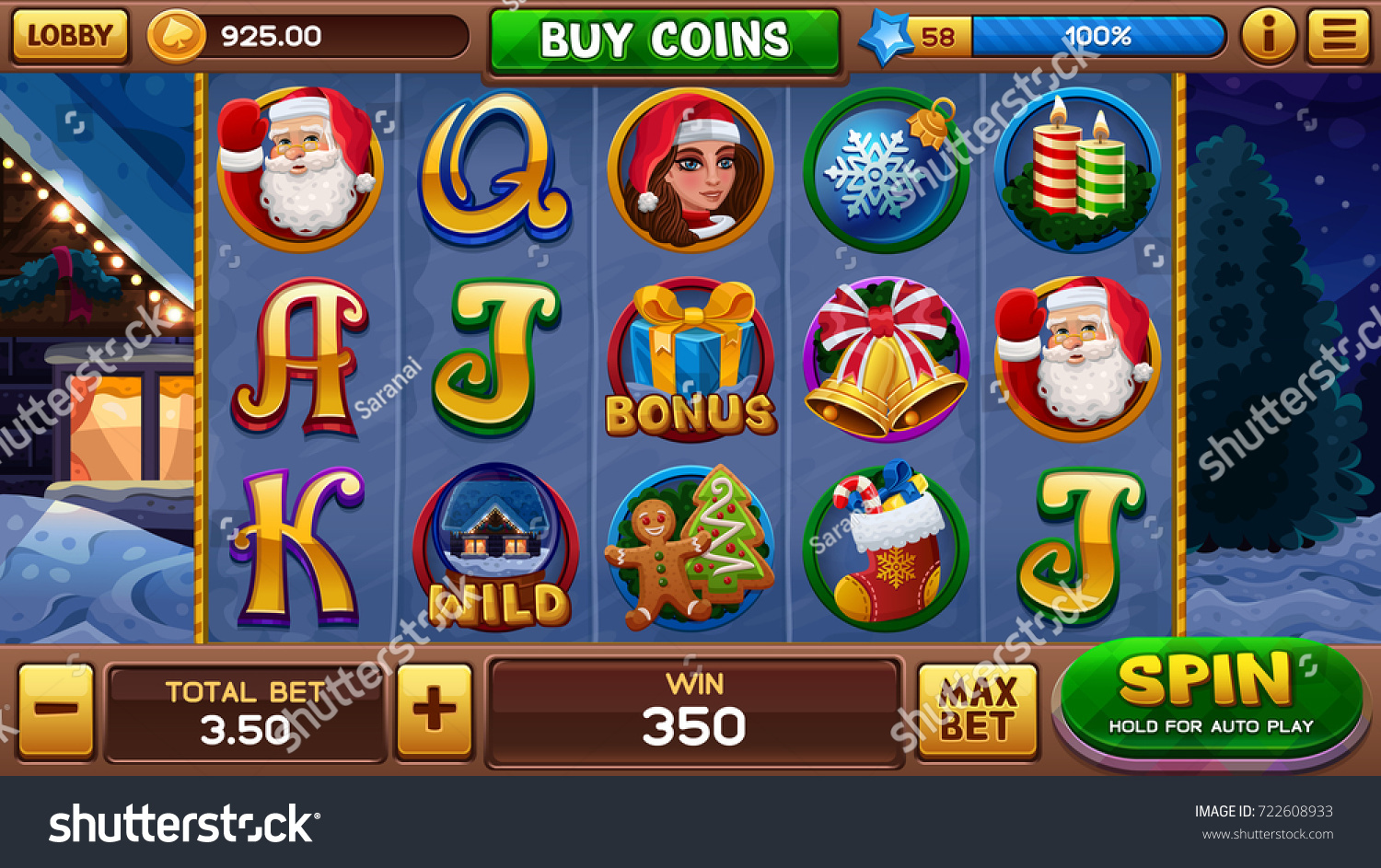 Christmas Background Slots Game Vector Illustration Stock ...
