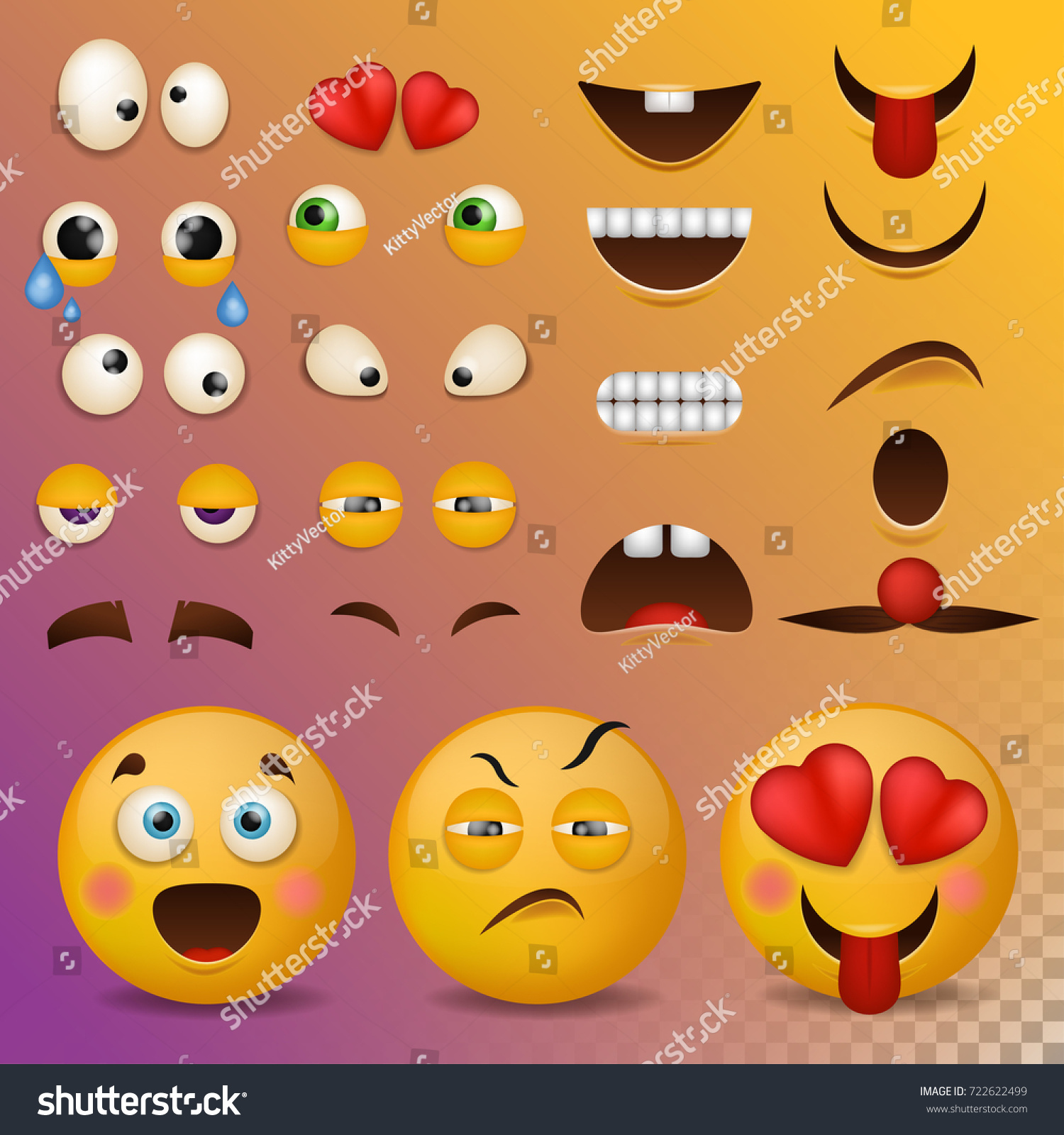 Yellow Smiley Face Character Your Scenes Stock Vector