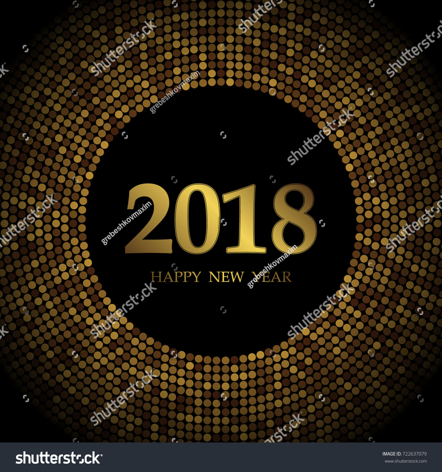 happy new year 2018 with gold disco glitter frame festive premium design template for holiday