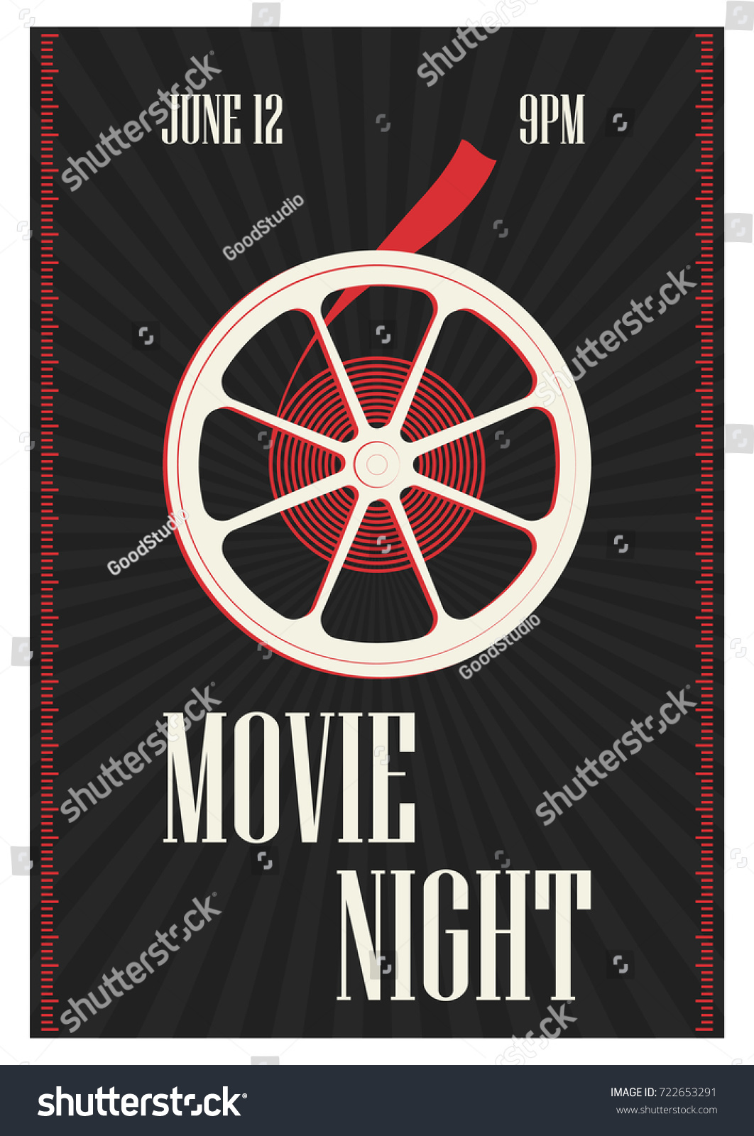 Poster flyer template motion picture premiere stock vector for Film premiere invitation template
