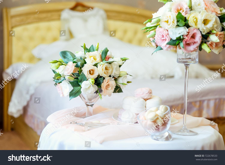 Table Brides Details Bouquet Eustoma Flowers Stock Photo (Edit Now ...