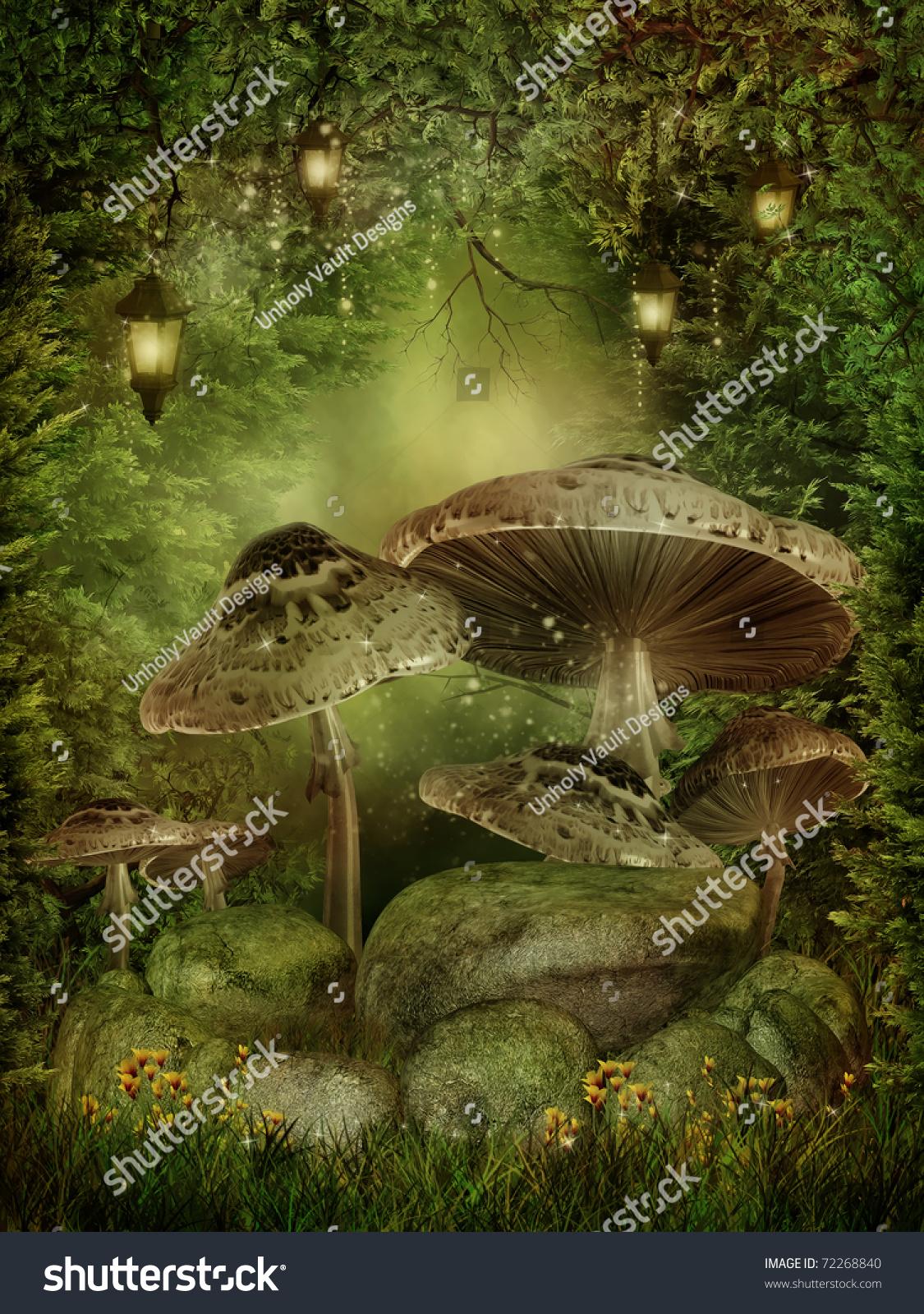 enchanted forest mushrooms rocks stock illustration 72268840