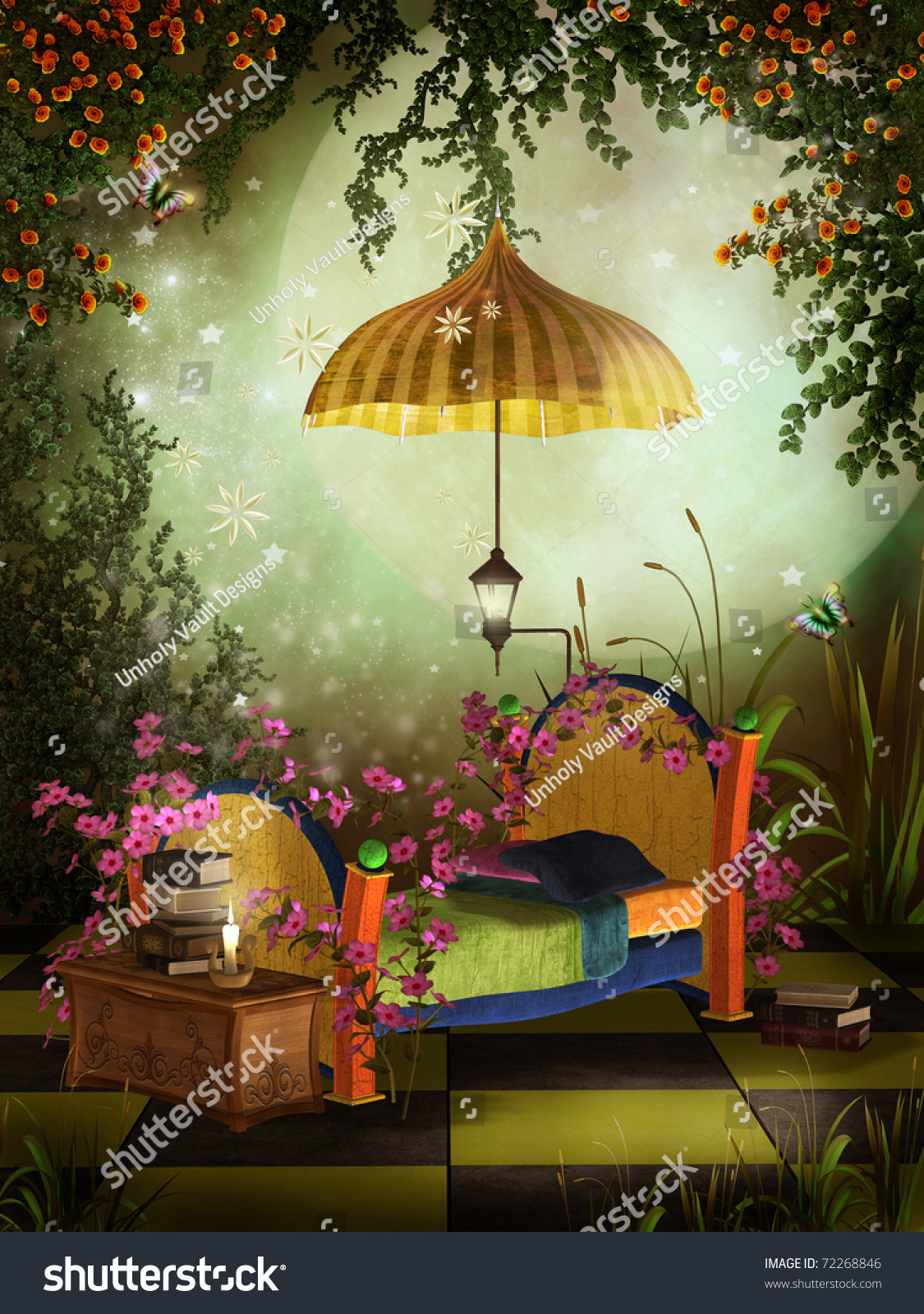 fantasy bedroom yellow roses pink flowers stock illustration