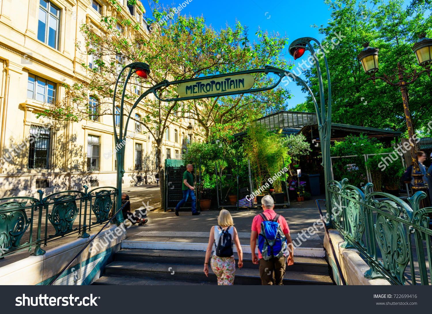 art nouveau entrance paris metro subway stock photo royalty free