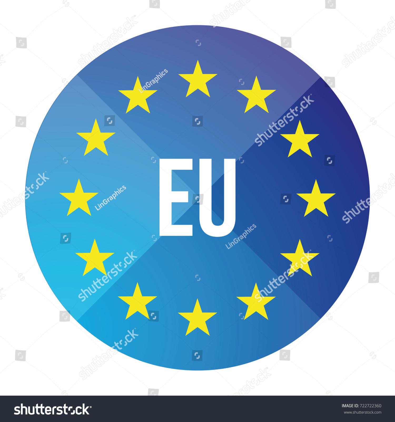 eu logo european union button stock vector 722722360