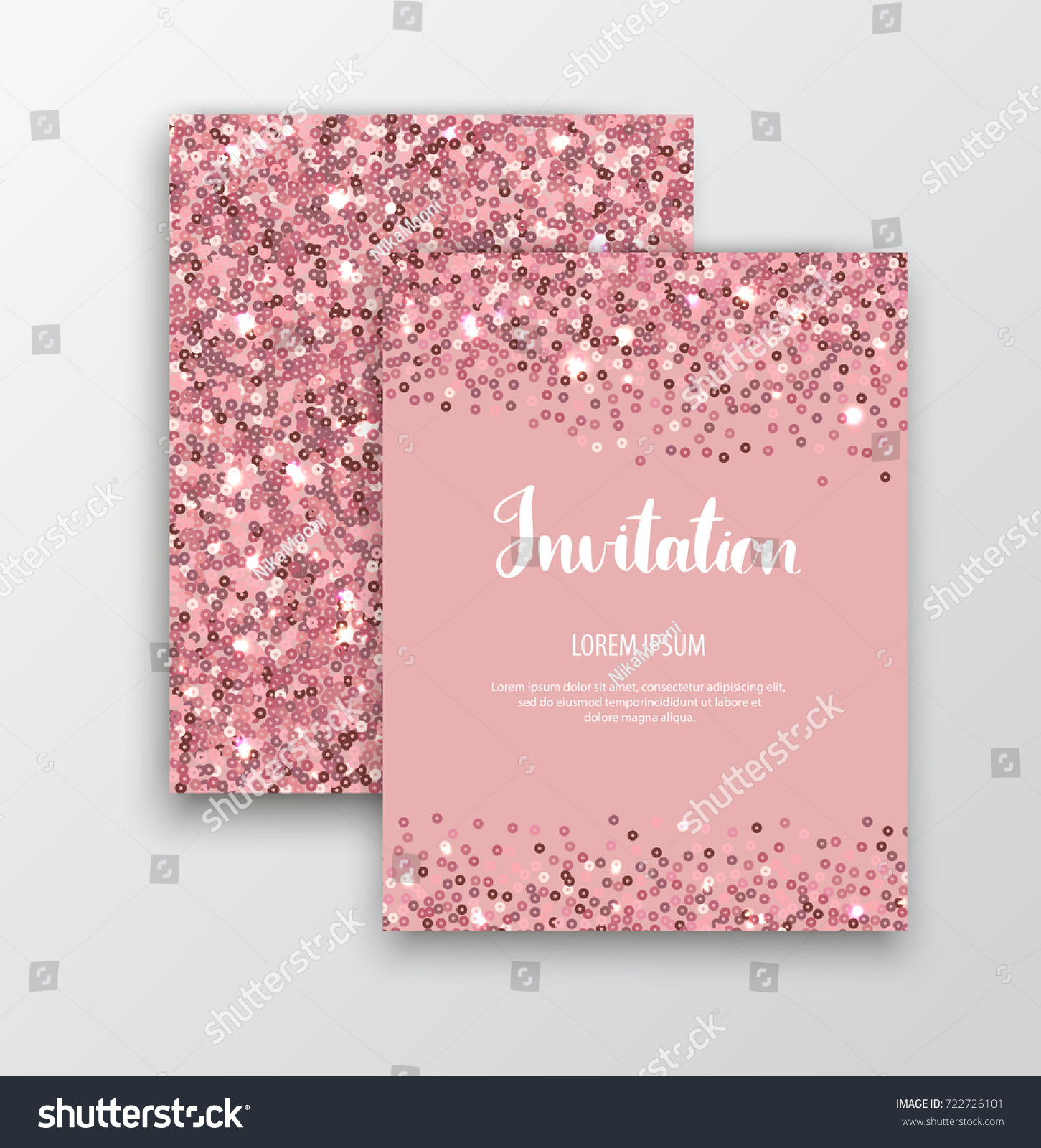 Rose gold sequins pink sparkle cards stock vector 722726101 pink sparkle cards rose gold glitter background vector template for stopboris Images