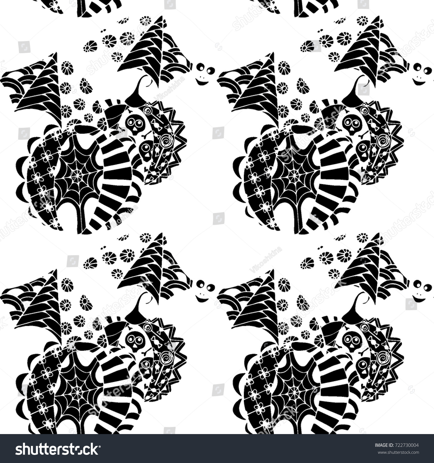 Black White Halloween Pattern Zentangle Bats Stock Vector Royalty Free 722730004