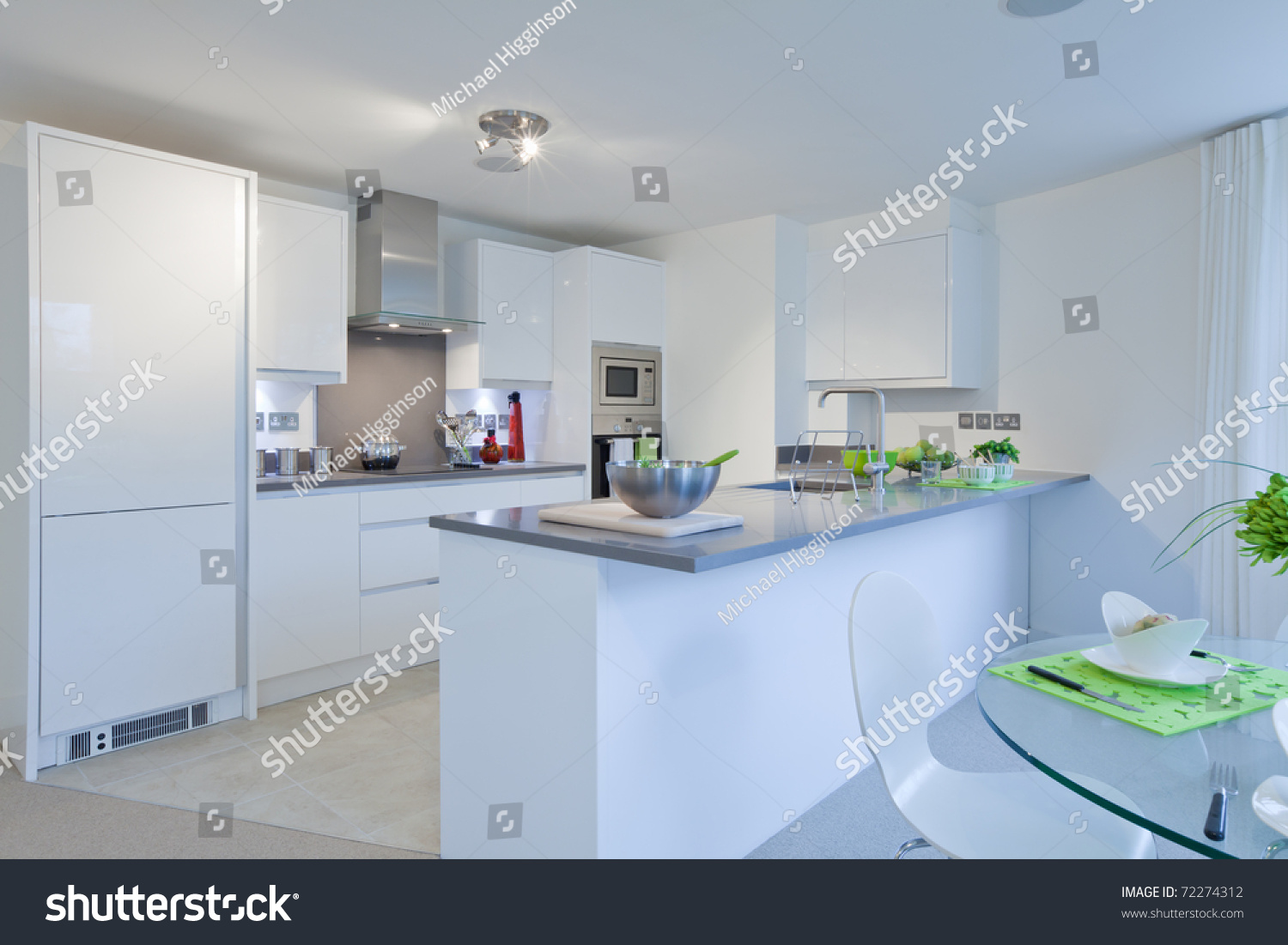 Modern High Gloss Finish Kitchen Incorporating Stock Photo (Edit Now ...