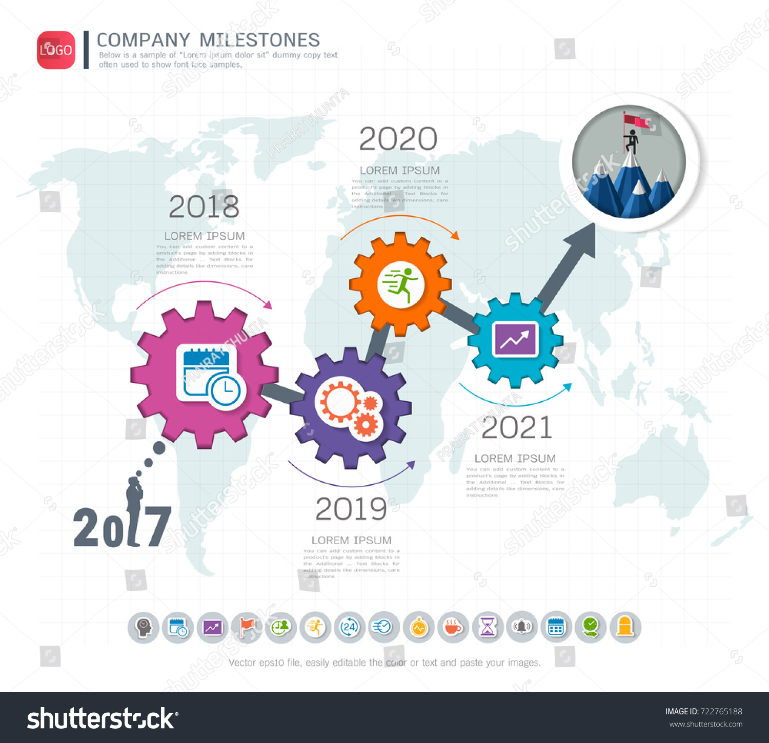 gears infographic template business presentation strategic の