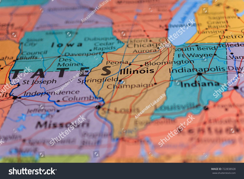 Illinois Missouri Indiana On Map Stock Photo Edit Now 722838928
