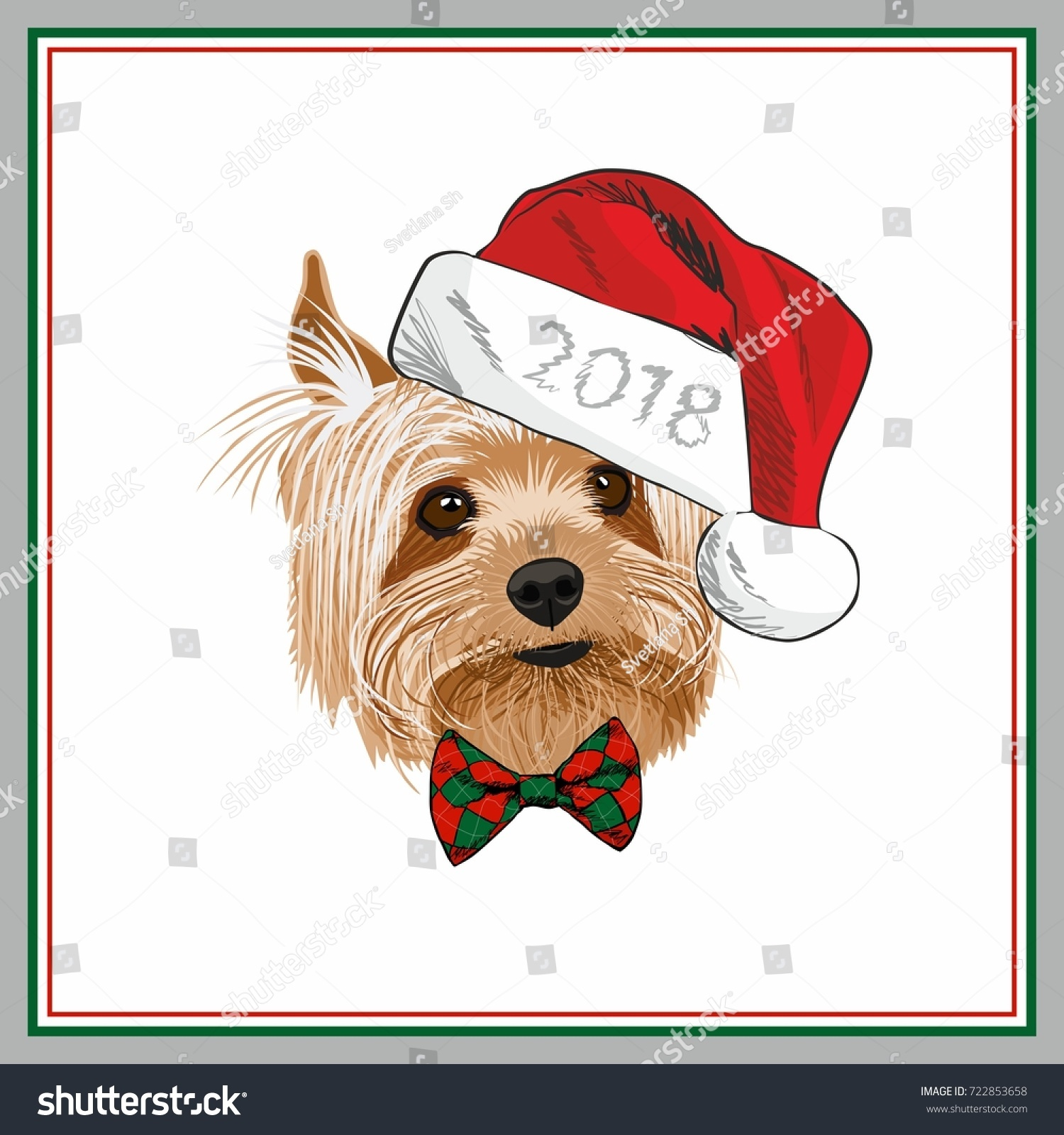 2018 Merry Christmas Greeting Card Yorkshire Stock Vector Royalty