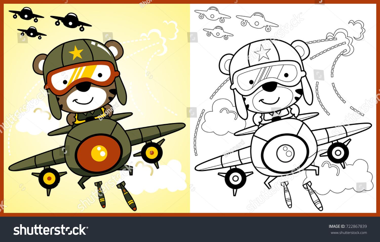 vector cartoon animal soldier on jet stock vector 722867839