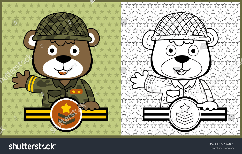 Vector Cartoon Animal Soldier Coloring Page Stock 722867851
