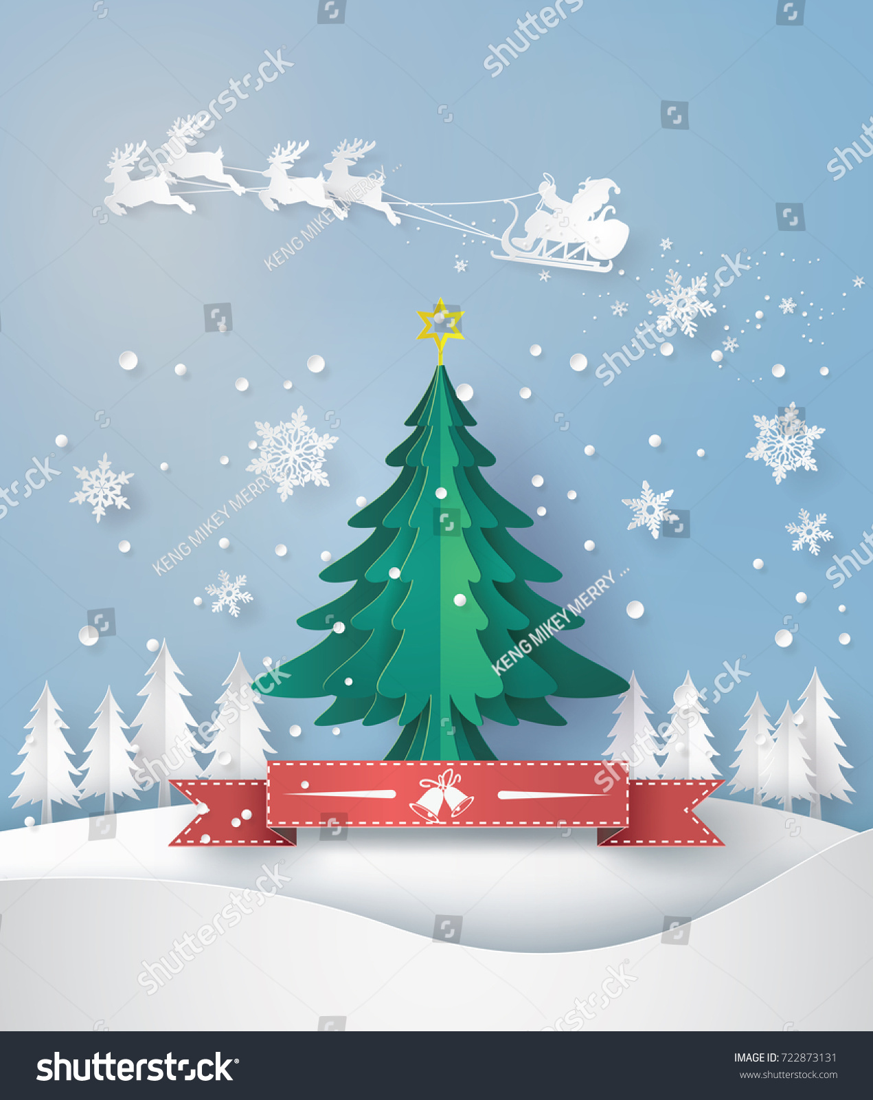 Merry christmas greeting card origami made stock vector 722873131 merry christmas greeting card with origami made christmas tree and snow flake paper art and kristyandbryce Images