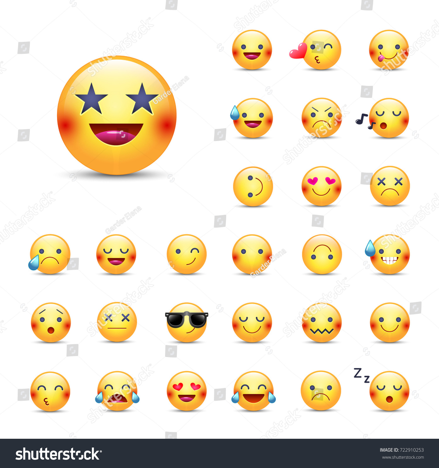 Smileys vector icon set emoticons pack stock vector 722910253 smileys vector icon set emoticons pack happy merry singing sleeping biocorpaavc Images