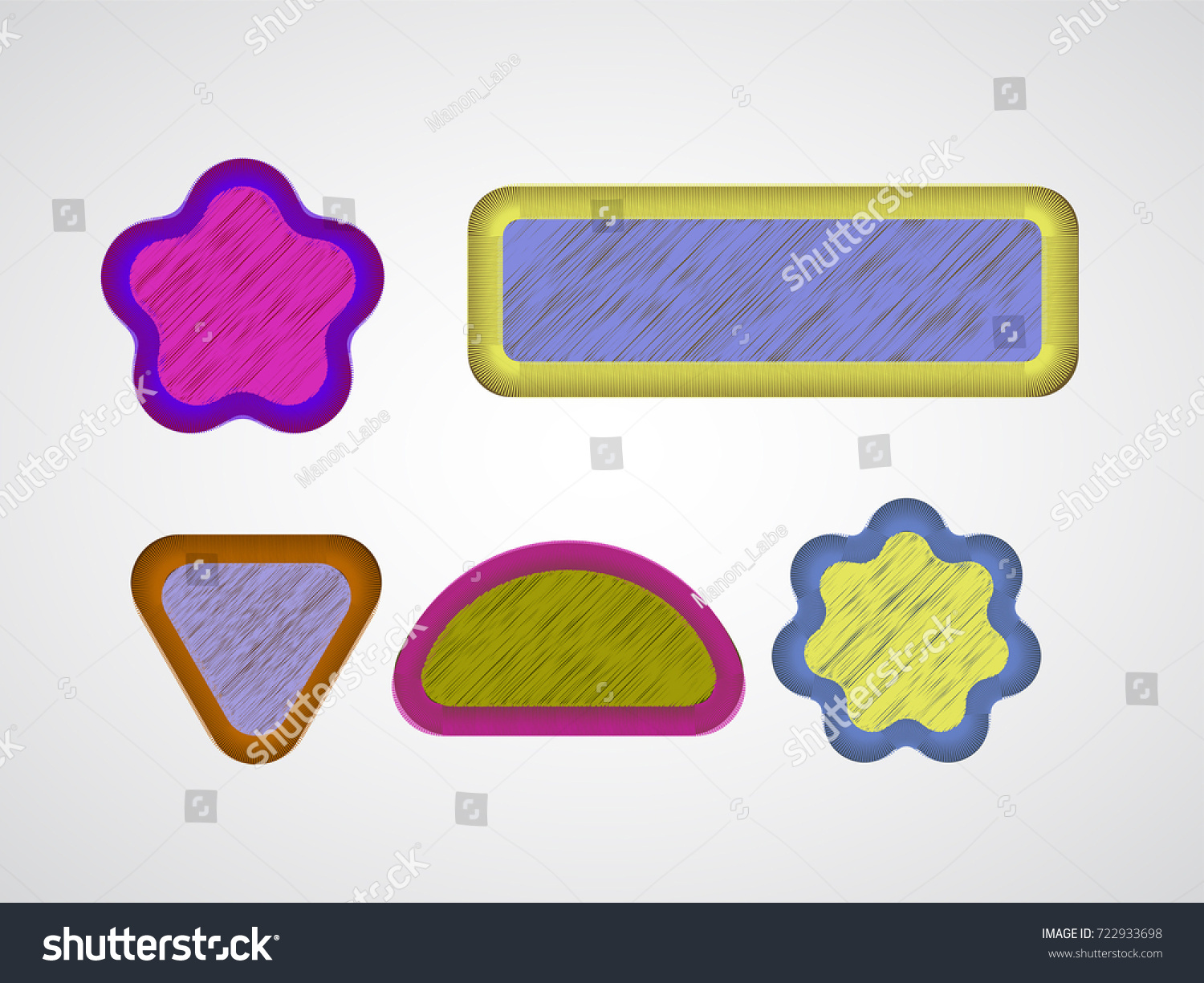 Embroidered Chevron Patches Realistic Vector Needlework Stock Vector ...