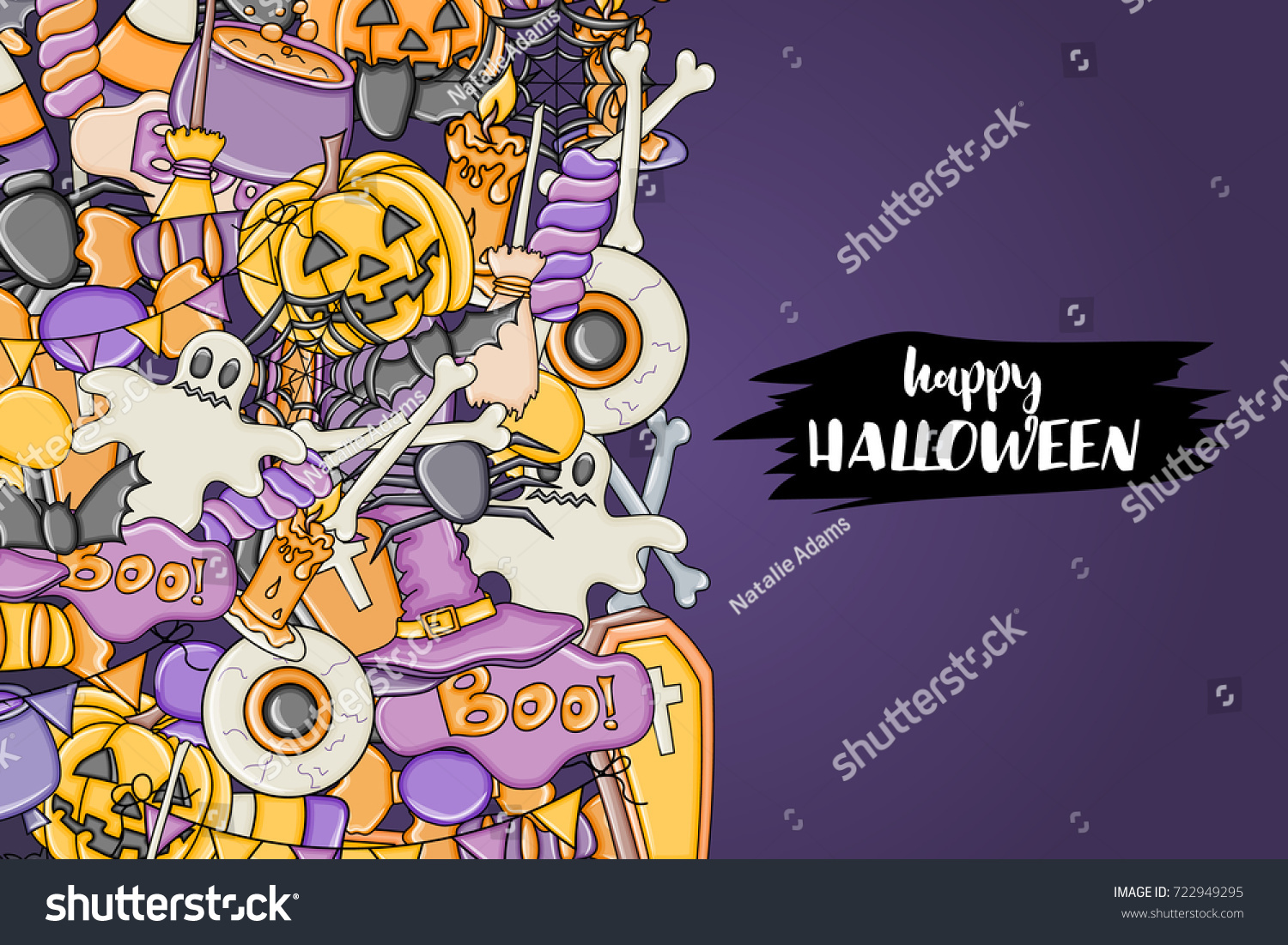 Halloween Background Holiday Design Elements Template For Flyer