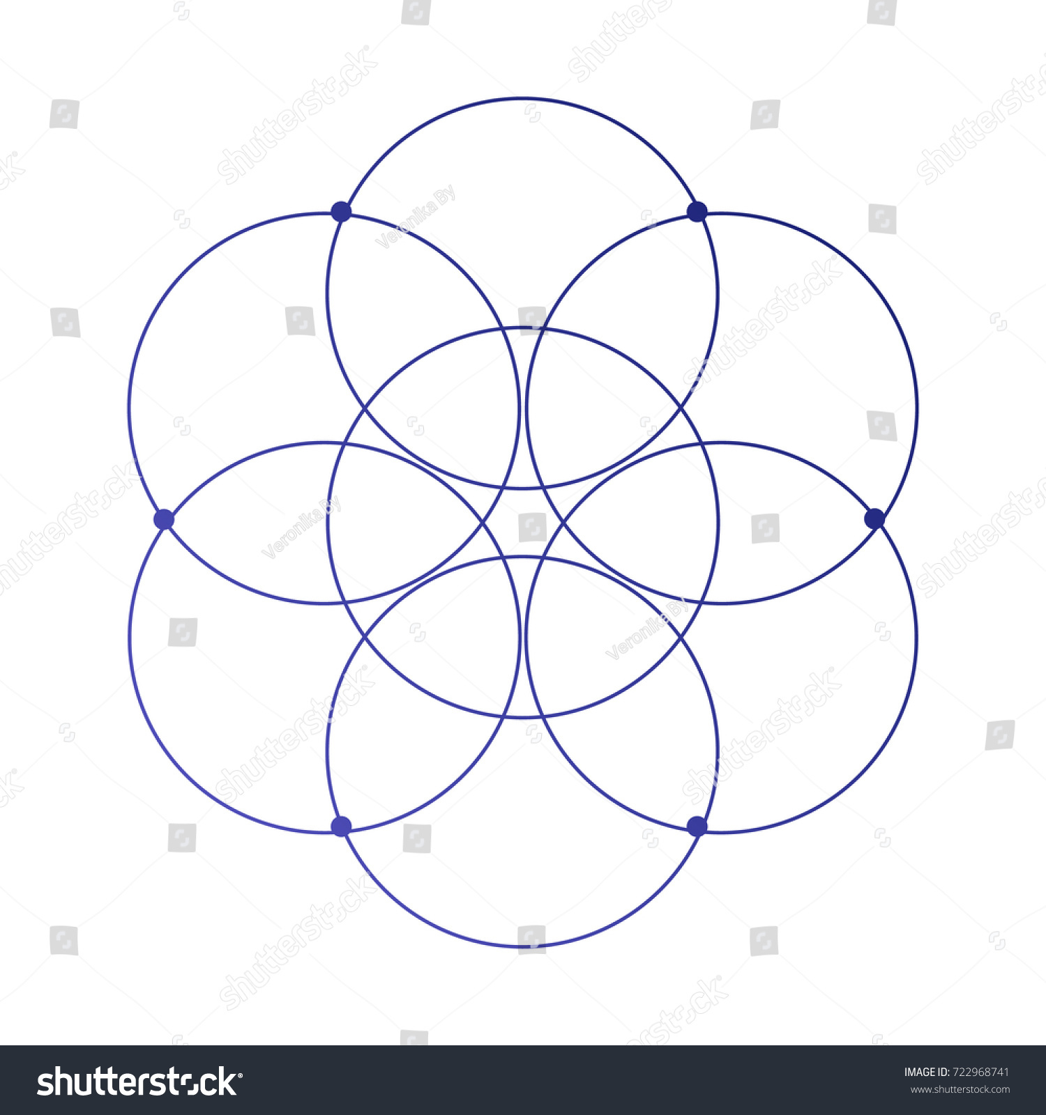 Simple Sacred Geometry Flower Life Ancient Stock Vector Royalty