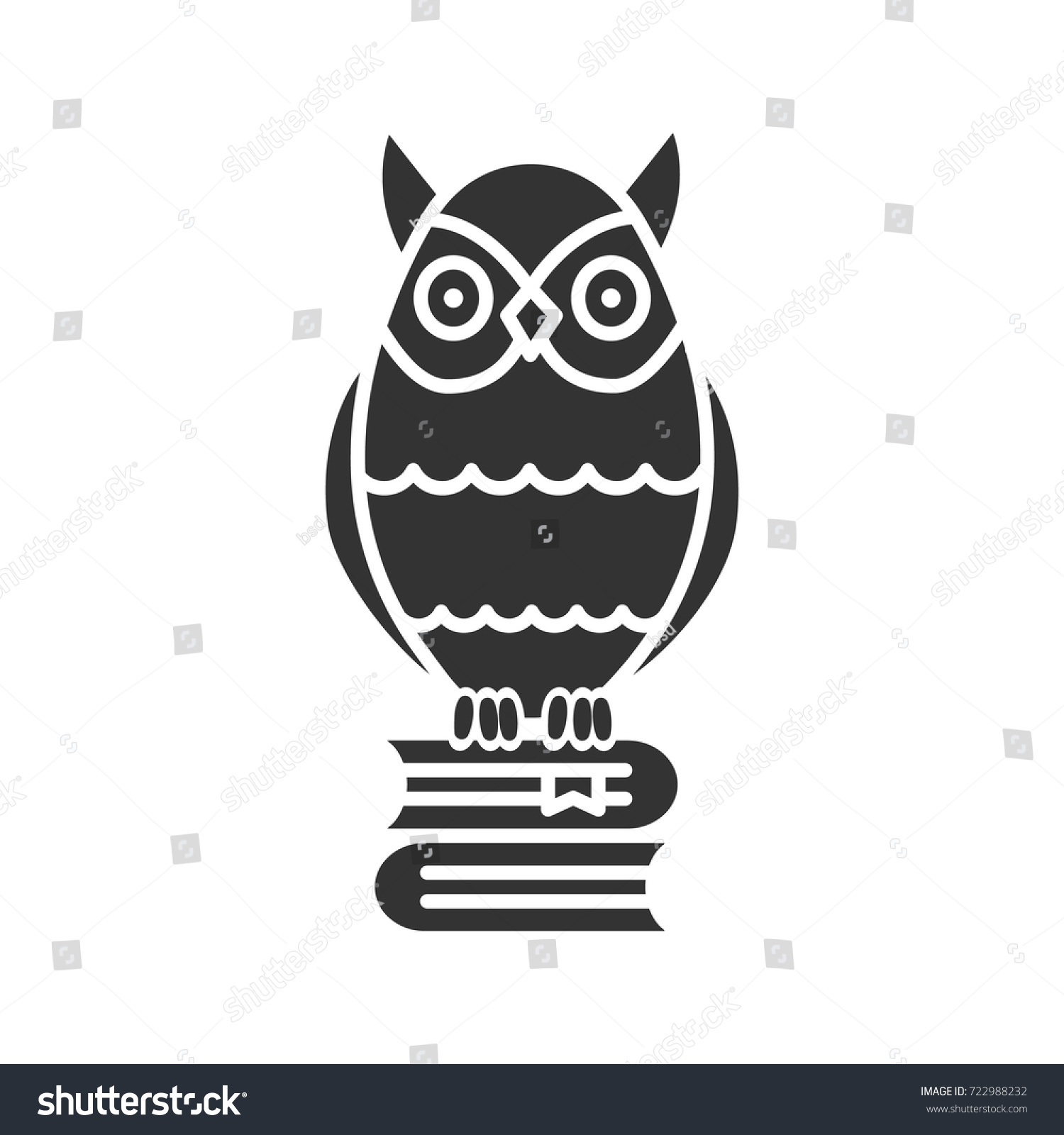 Owl On Books Stack Glyph Icon Stock Vector Royalty Free 722988232