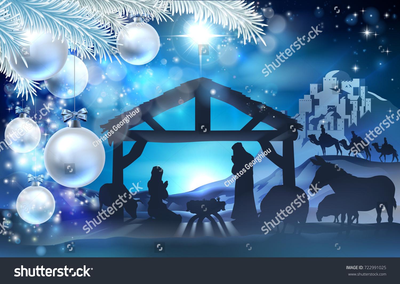 Nativity christmas illustration joseph virgin mary stock