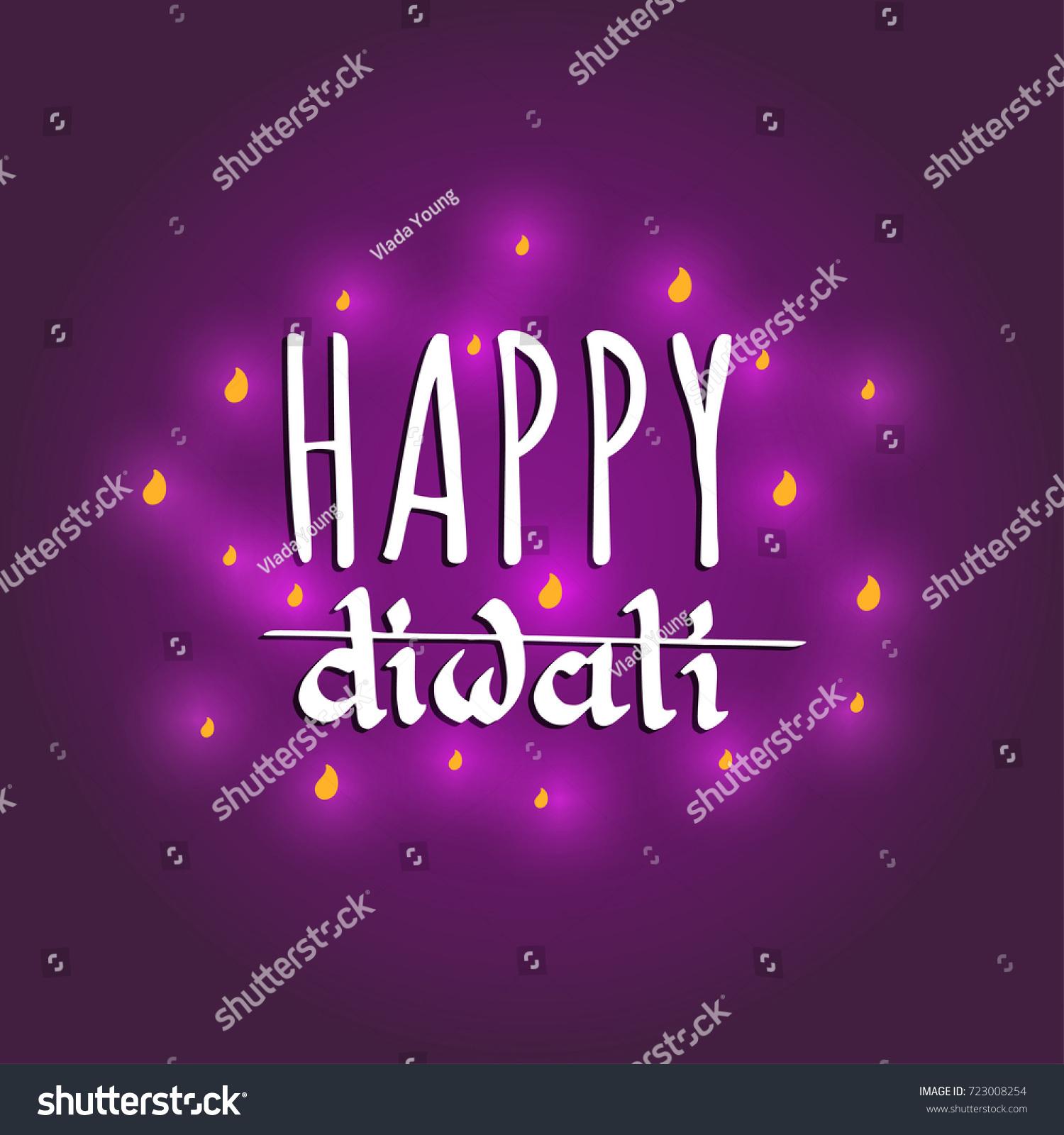 Diwali Festival Poster Hand Lettering Vector Stock Vector