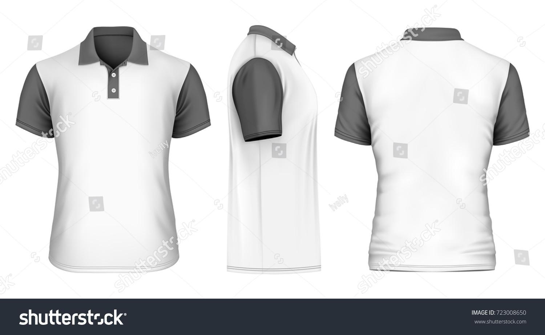 Mens White Poloshirt Black Sleeves Collar Stock Vector Royalty Free