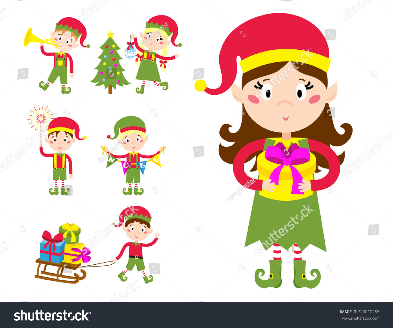 santa claus kids cartoon elf helpers stock vector 723010255