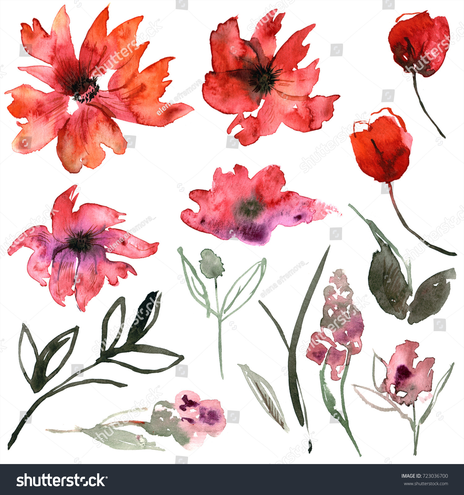 Cute Watercolor Hand Painted Flower Elements Stock Illustration