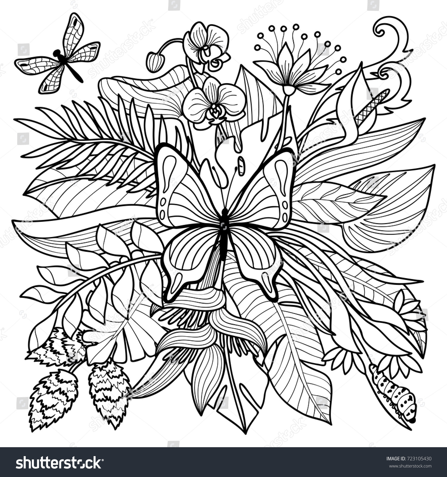 Tropical Flowers Plants Insects Composition Floral Stock Vector
