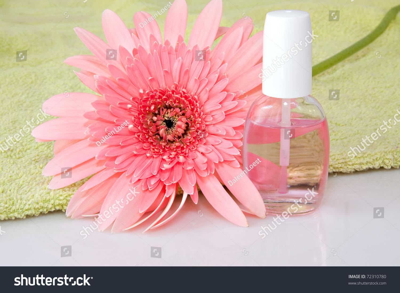 Nail Care Product Bottles Pink Gerbera Stock Photo Edit Now
